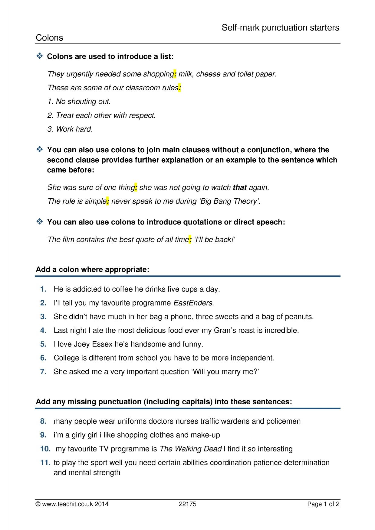 Ks3 Grammar And Vocabulary Punctuation Teachit English