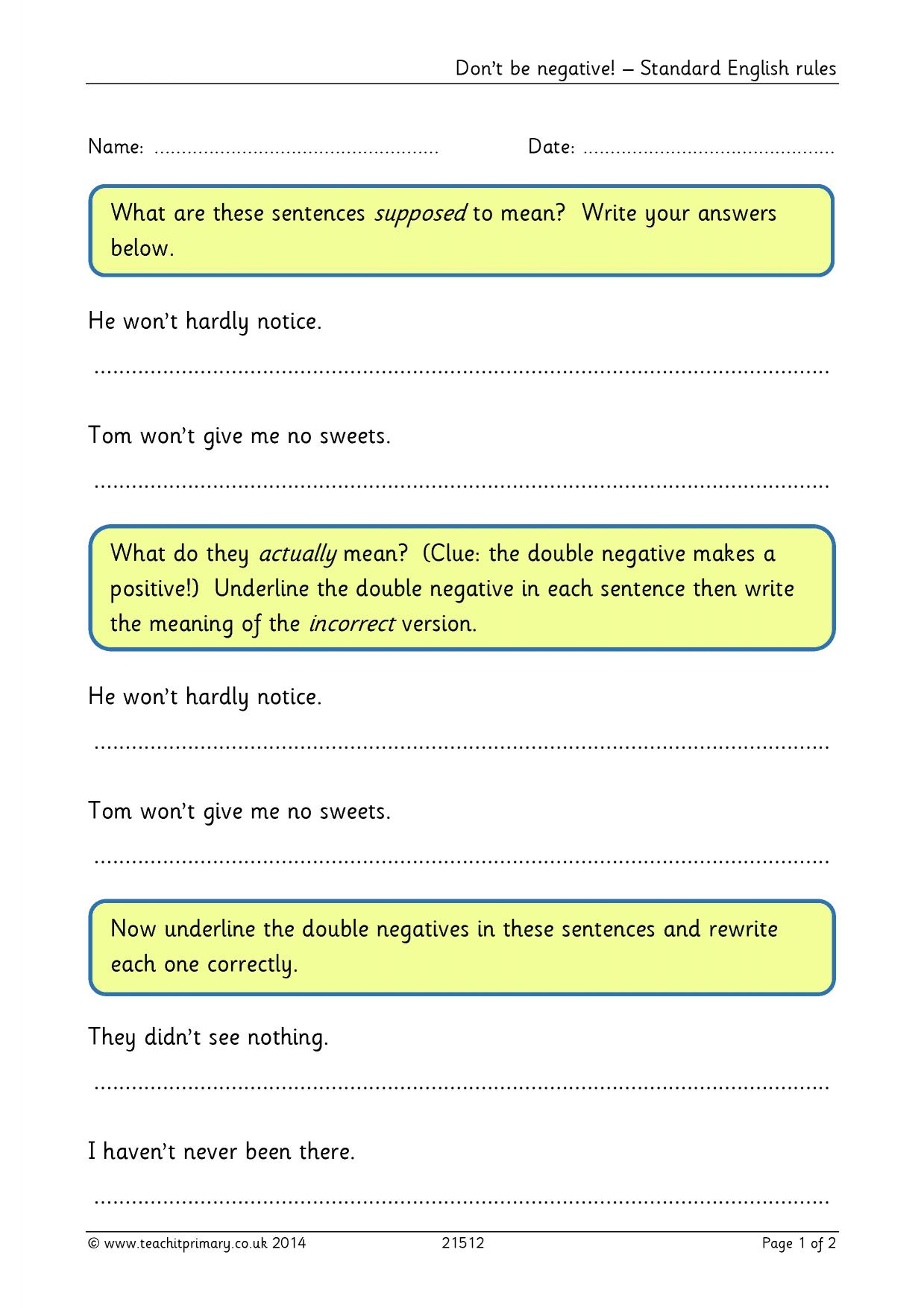 Simple sentences Vocabulary punctuation and grammar – Double Negatives Worksheet