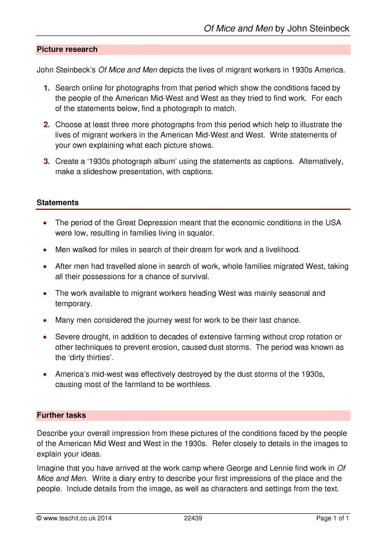 Worksheets Of Mice And Men Worksheet ks3 of mice and men by john steinbeck teachit english 1 preview
