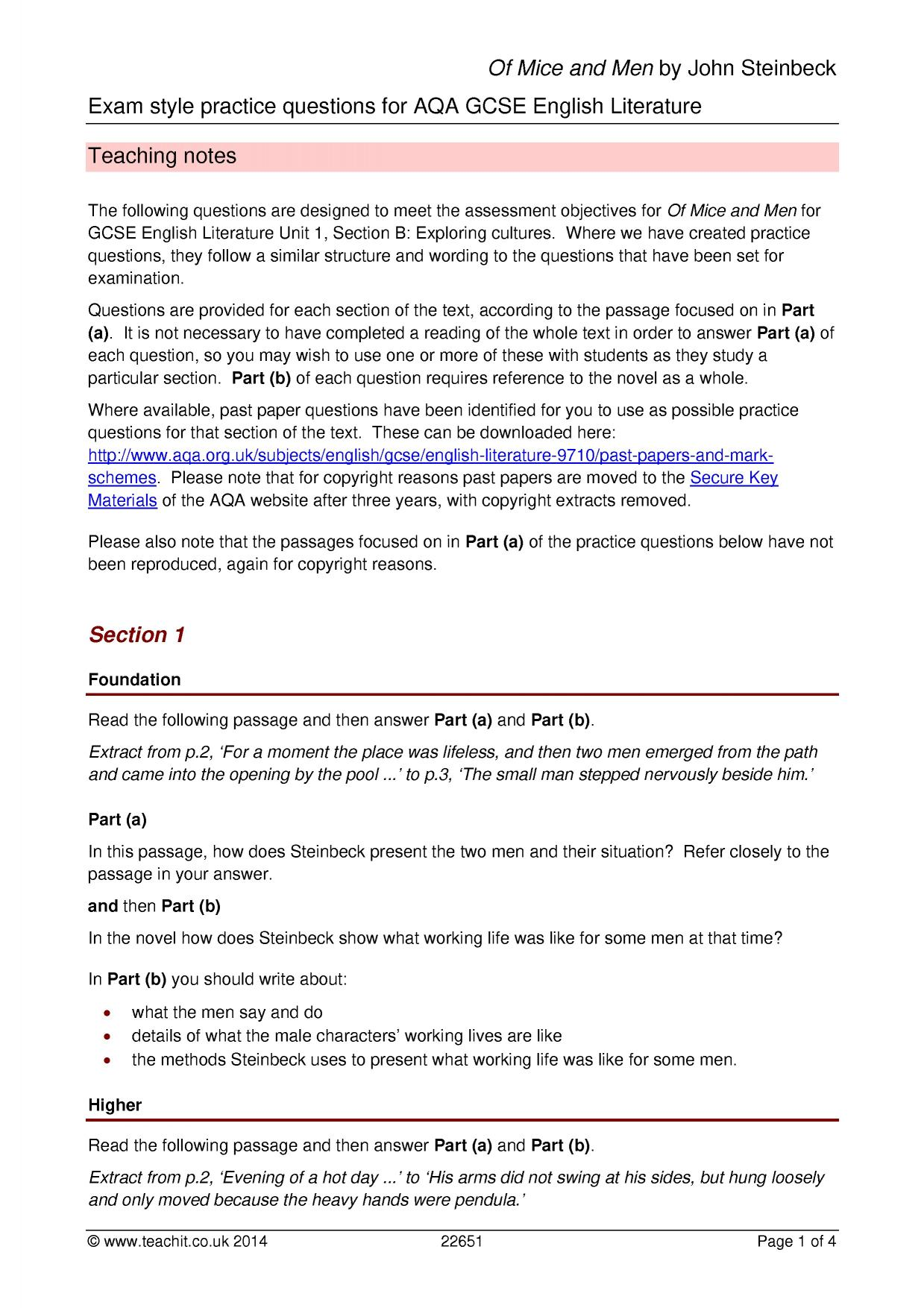 KS4 Of Mice and Men by John Steinbeck – Of Mice and Men Worksheets