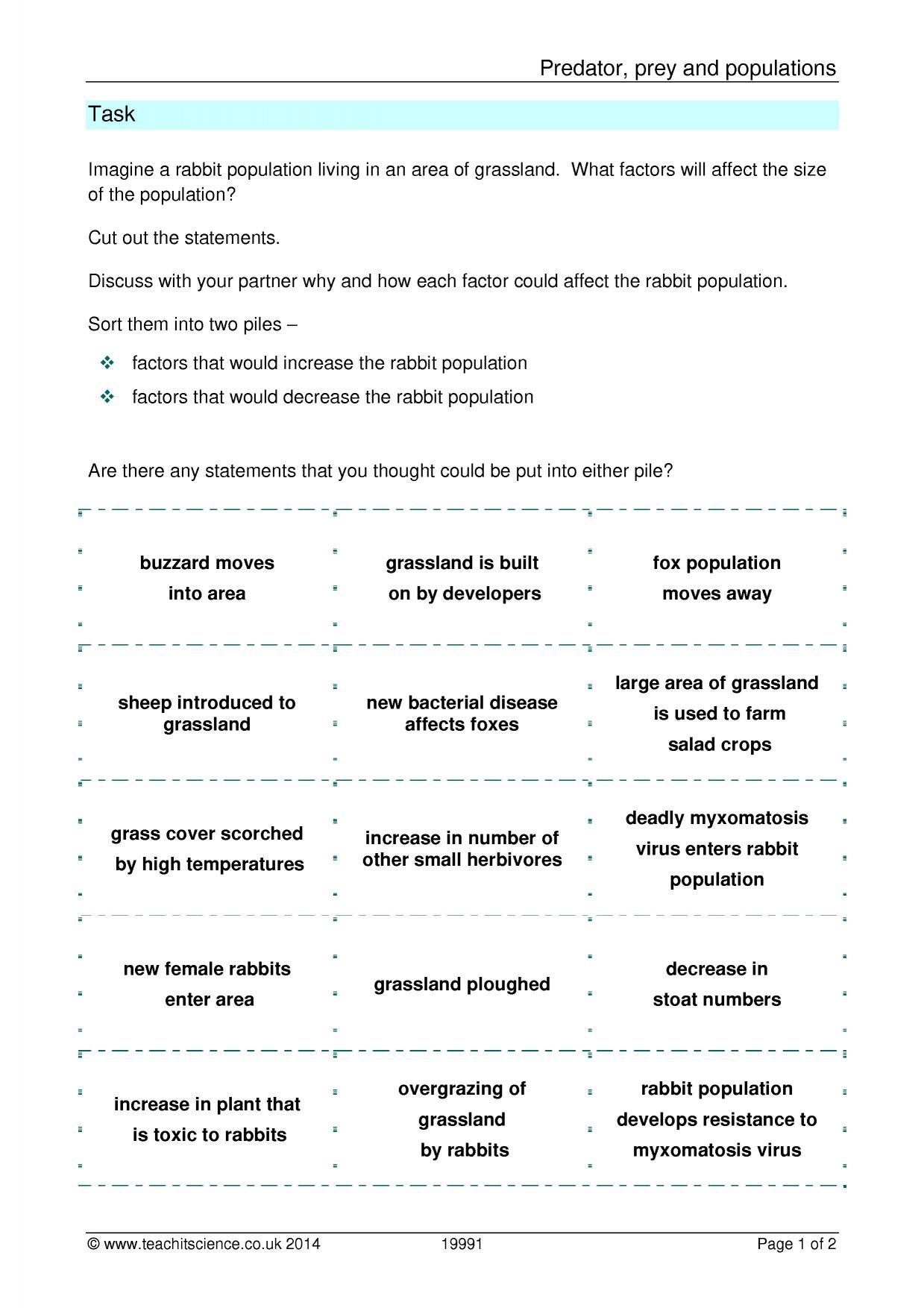 KS3 Ecology KS3 – Predator and Prey Worksheet