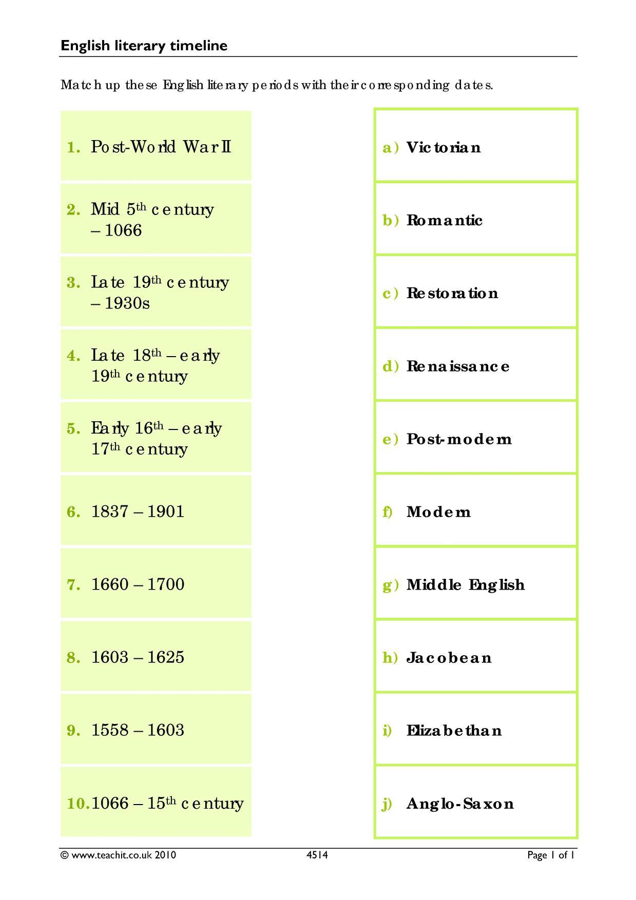 English literature timeline pdf free