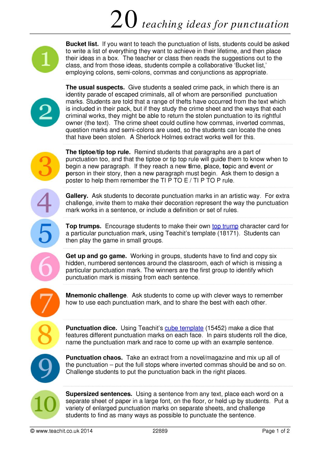 20 teaching ideas for punctuation