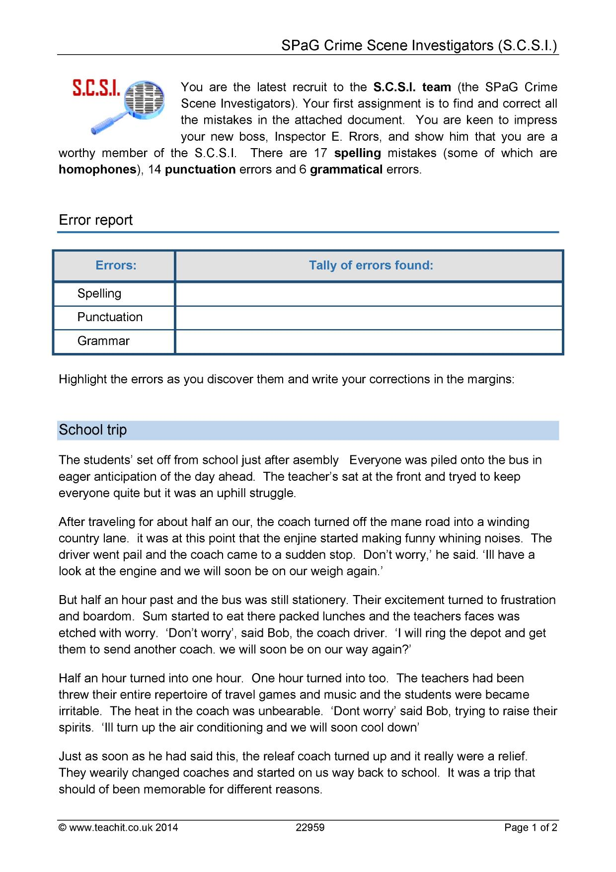 Worksheets Grammar Correction Worksheets ks3 proofreading teachit english 7 preview
