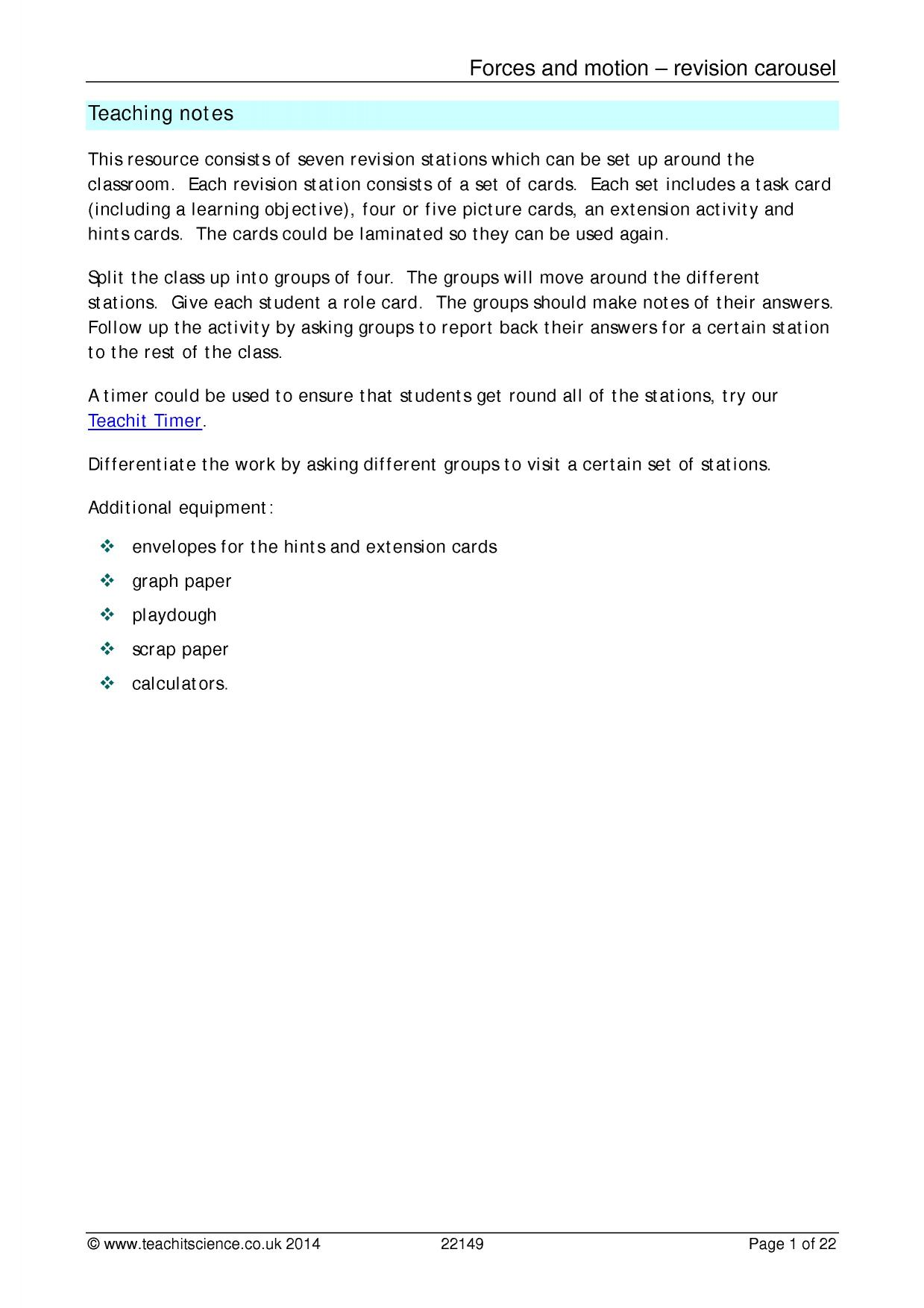 worksheet Force And Motion Worksheet ks3 forces and motion teachit science 4 preview