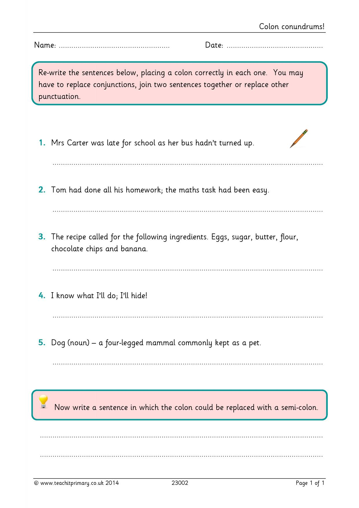 Semi Colon Worksheets Year 5 Worksheet Pages – Semicolon Worksheets