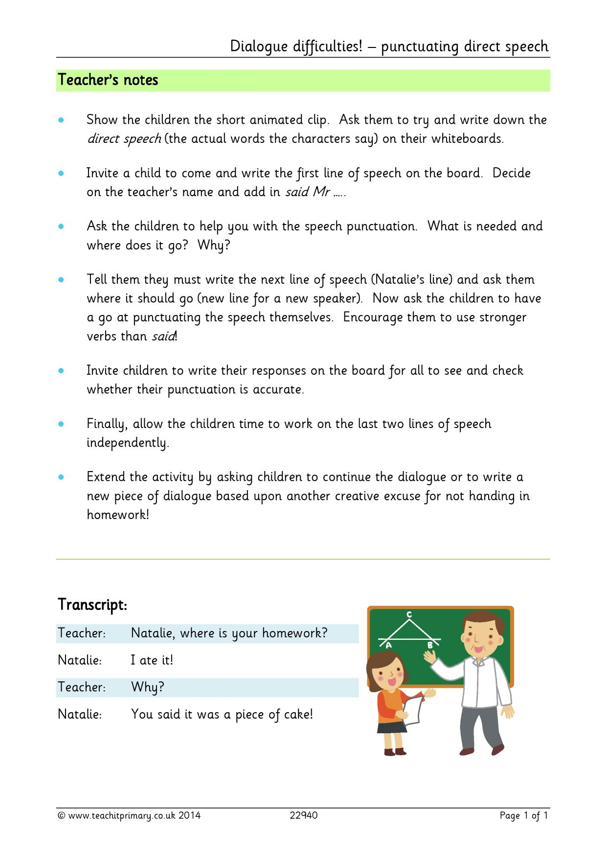 Dialogue difficulties punctuating direct speech Basic – Punctuating Dialogue Worksheet
