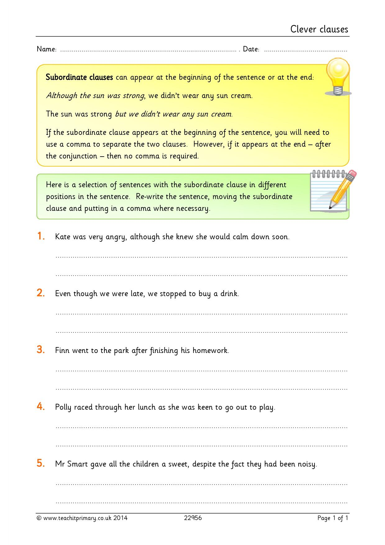 KS2 Complex sentences – Subordinate Clauses Worksheet