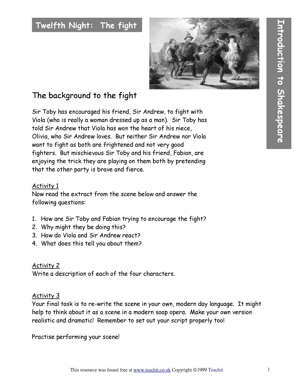 shakespeare twelfth night essay questions Despite twelfth night's comic action and happy ending, shakespeare paints an ambiguous picture of romance and infatuation in the playlove is generally represented as something sudden and irresistible, something that attacks its victim from the outside in a fashion similar to a disease.