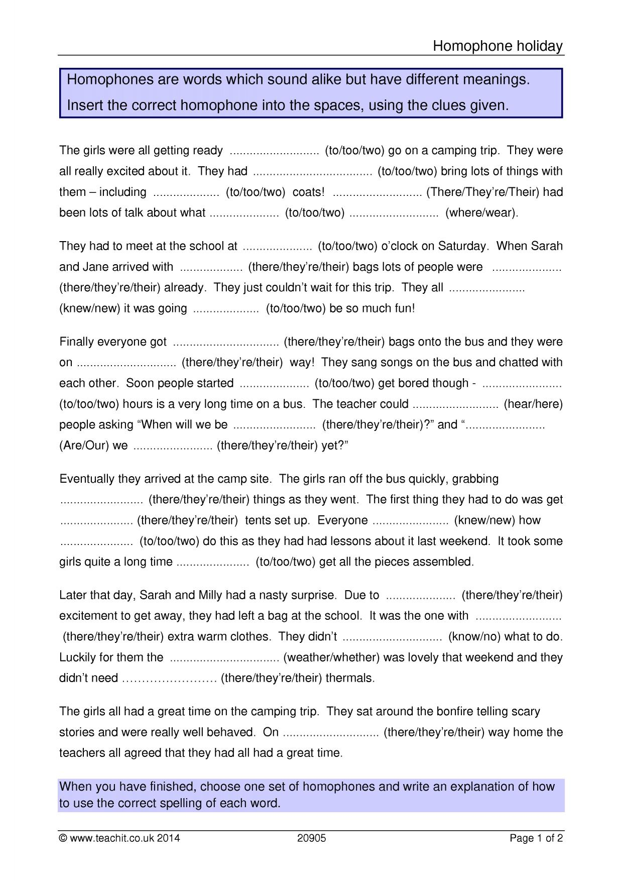 worksheet To Too Two Worksheets spelling ks3 grammar and vocabulary key stage 3 resources 6 preview