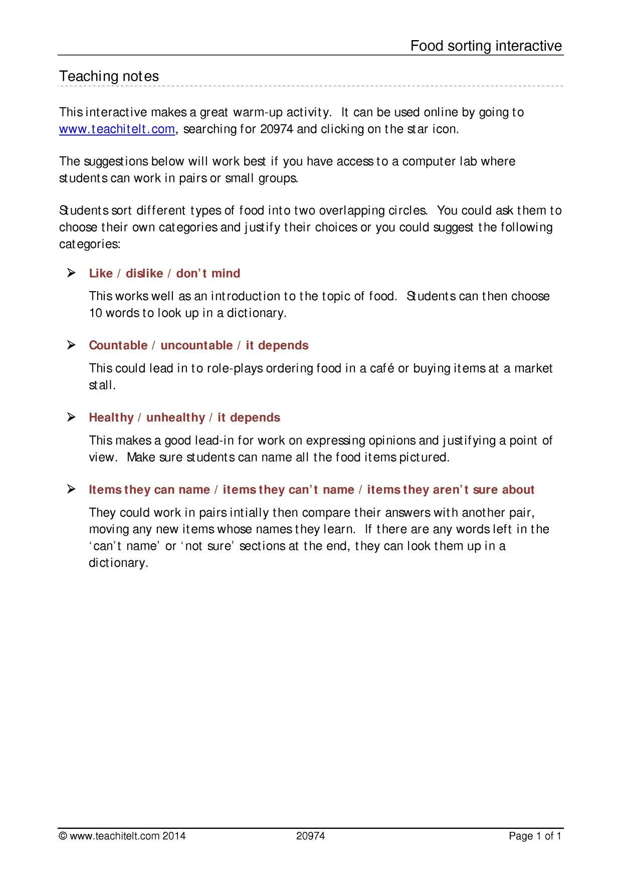Teachit ELT ELT resources - A2 elementary speaking resources