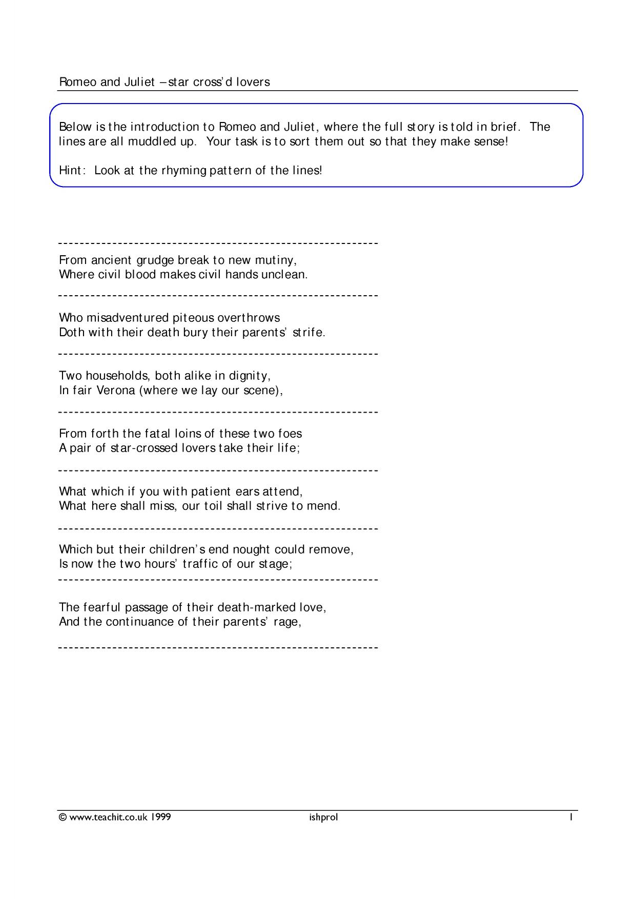 worksheet Romeo And Juliet Prologue Worksheet romeo juliet prologue search results teachit 1 preview