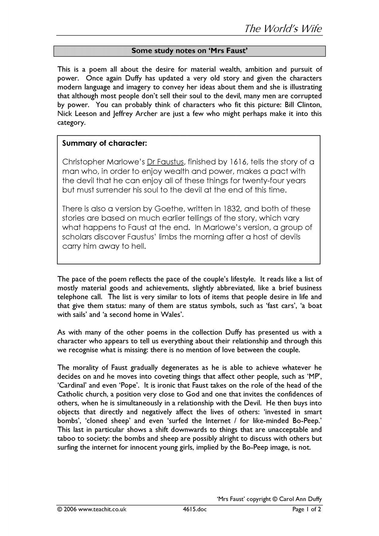 Carol Ann Duffy – Scottish Set Text Resources Nat 5 / Higher