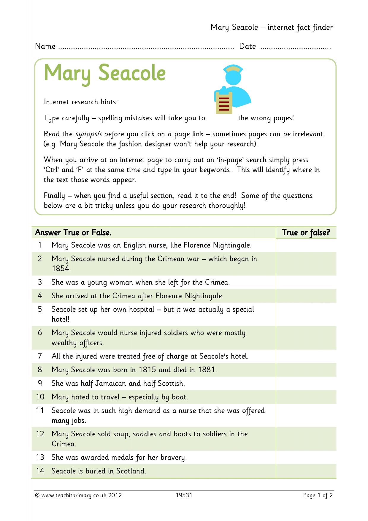 worksheet Mary Seacole Worksheet life of mary seacole search results teachit primary 0 preview