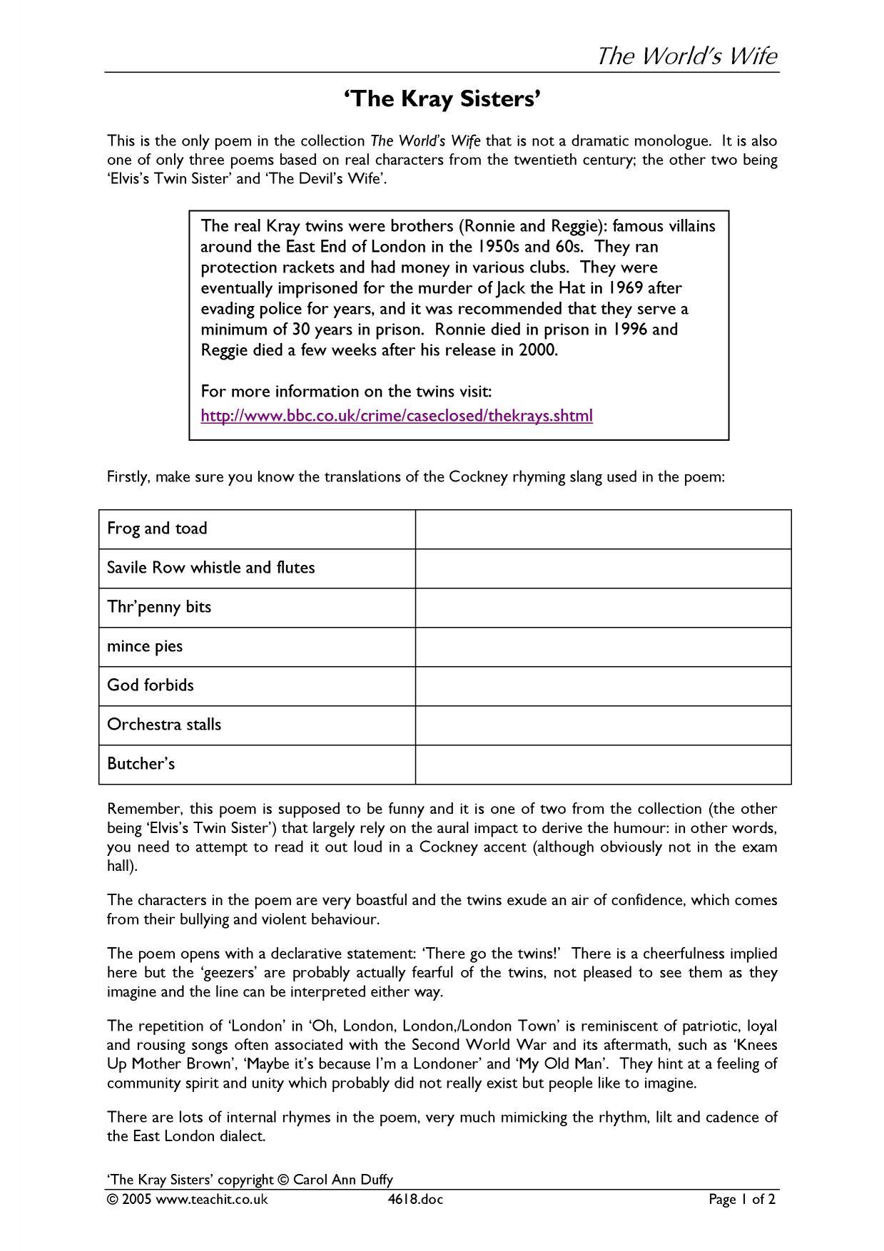 chimney sweeper essay