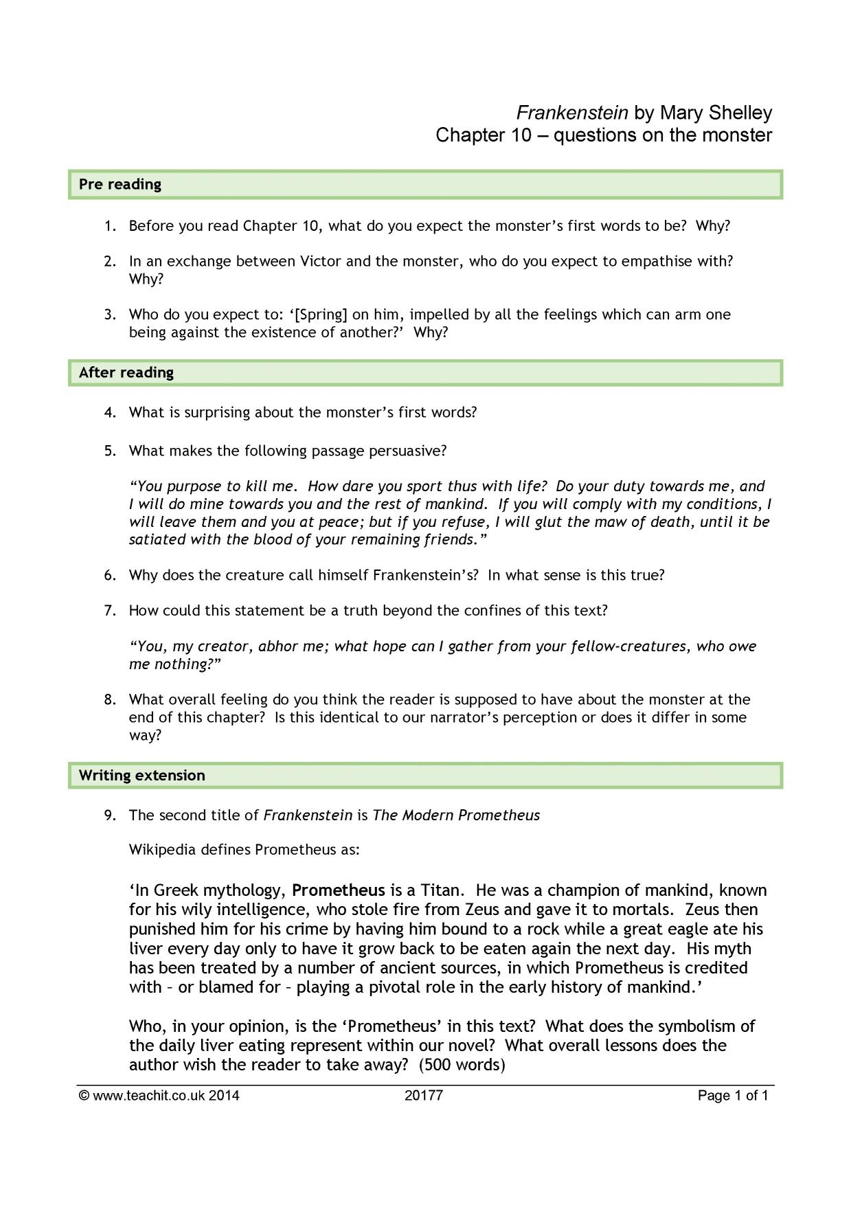 essay questions for frankenstein Describe the personality of victor frankenstein and the monster he creates 3 how does | my preferences  study help essay questions bookmark this .