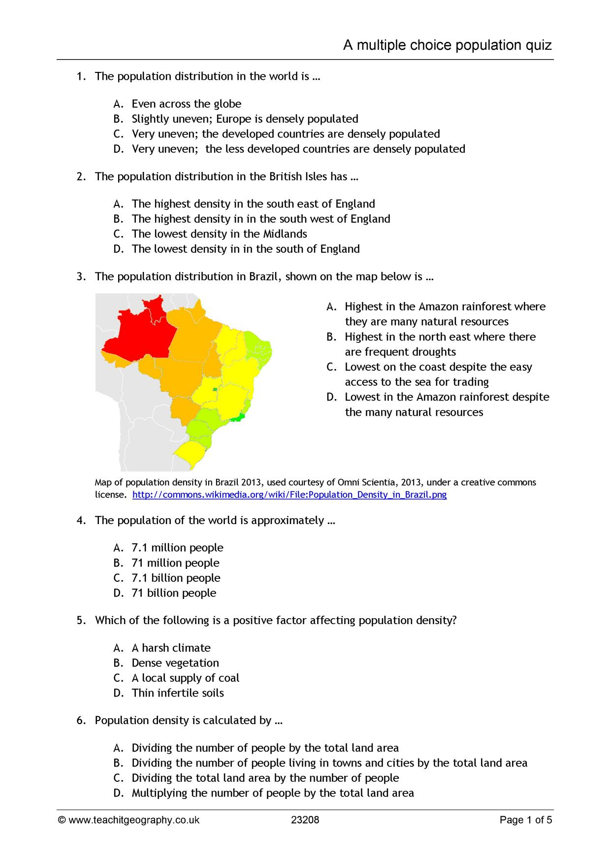 Worksheets Population Dynamics Worksheet ks3 population teachit geography 1 preview