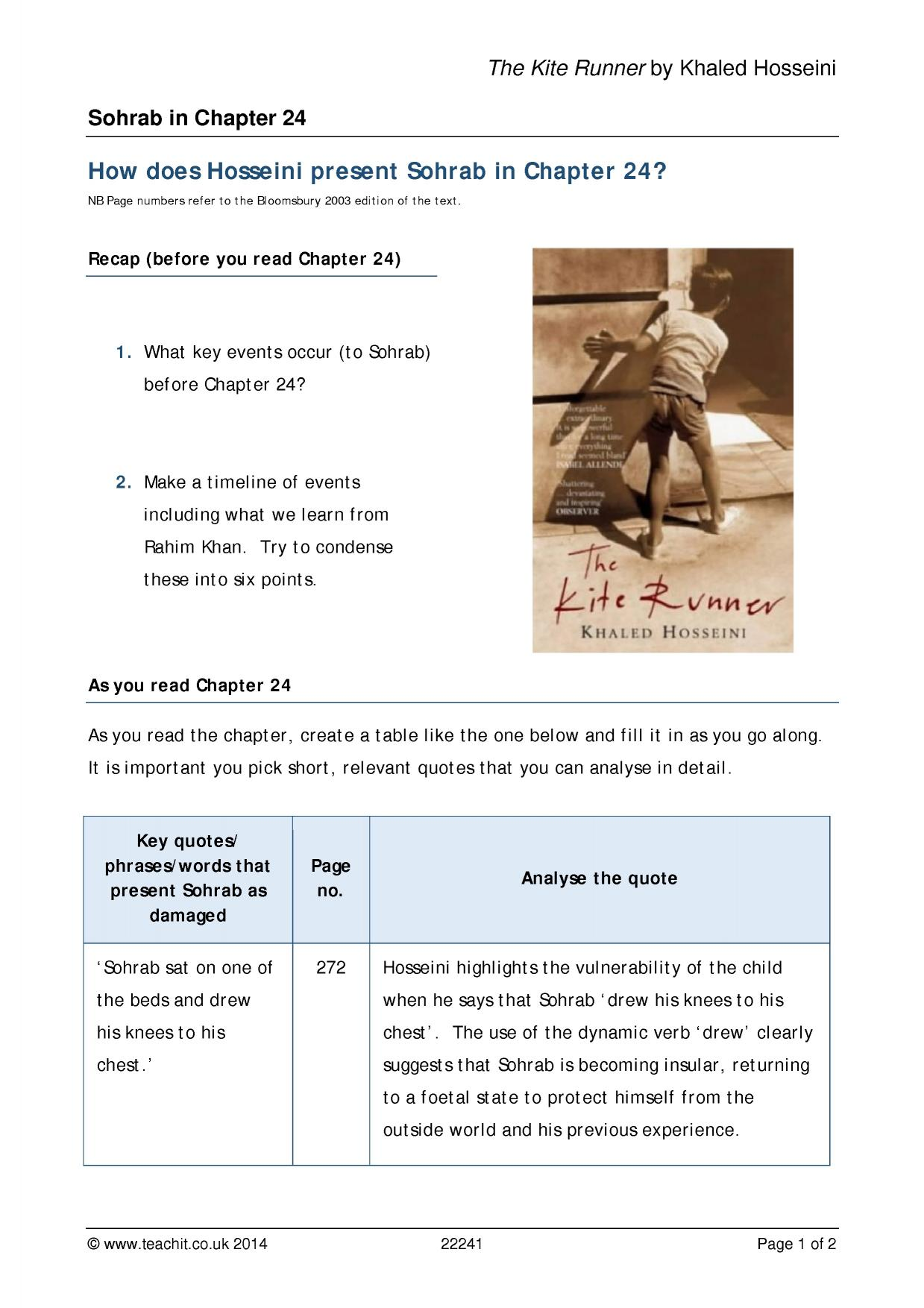 kite runner essay copy Tsotsi vs the kite runner essay tsotsi vs the kite runner in the novel, the kite runner written by khaled hosseini and the film tsotsi written by.