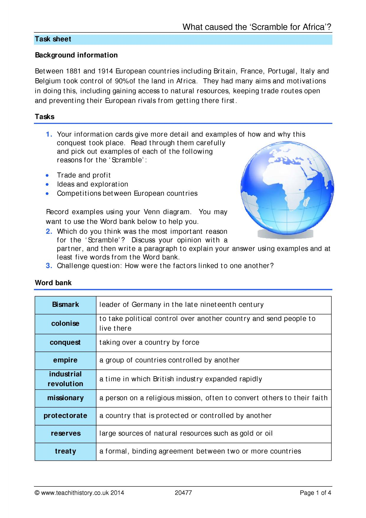 scramble for africa history essay Scramble for africa document-based essay directions: the following question is based on the accompanying documents 1-9(the documents have been edited for the purpose of this exercise.