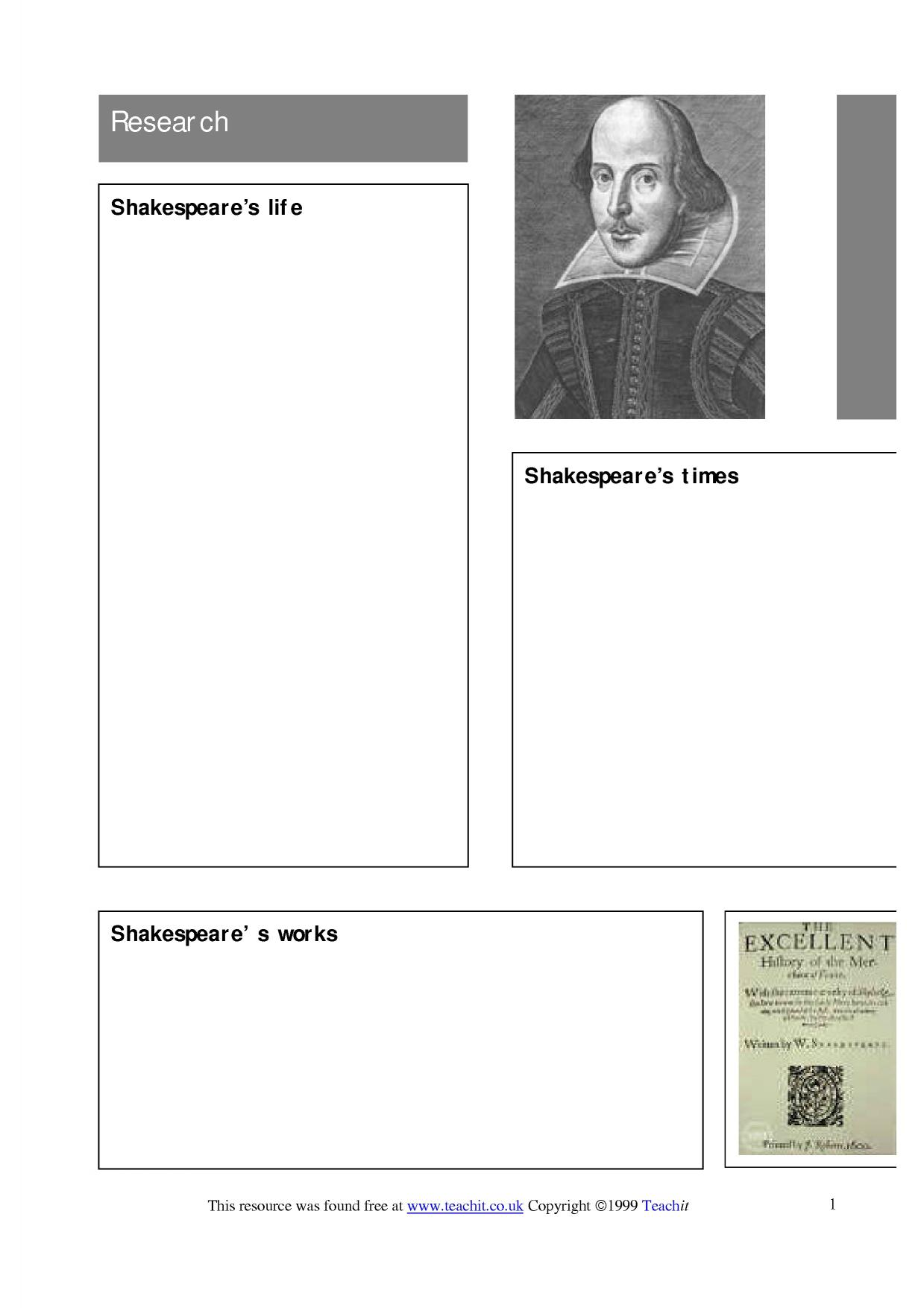 context research on shakespeare The tempest: context links helpful material on: biographical background of william shakespeare the world of shakespeare and the metaphysical poets 1540 - 1660.