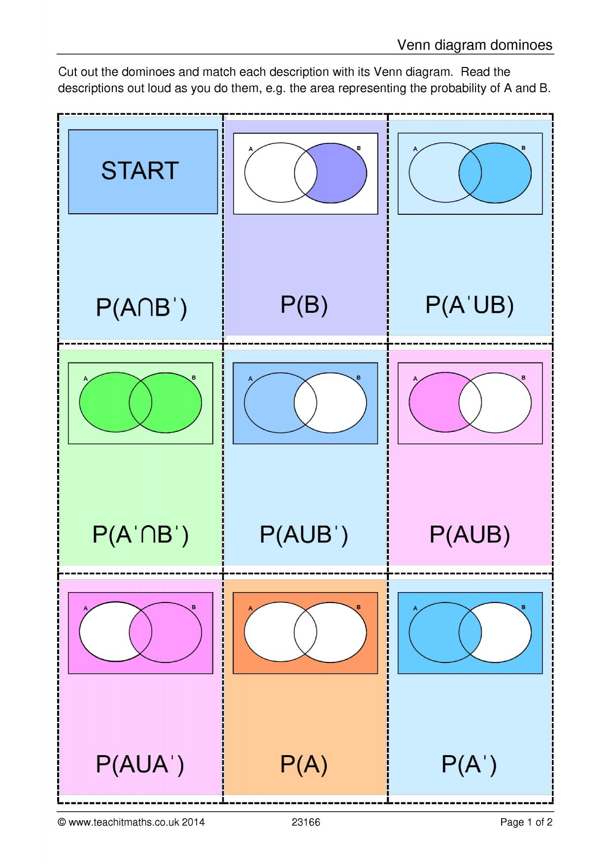 venn diagram dominoes - probability