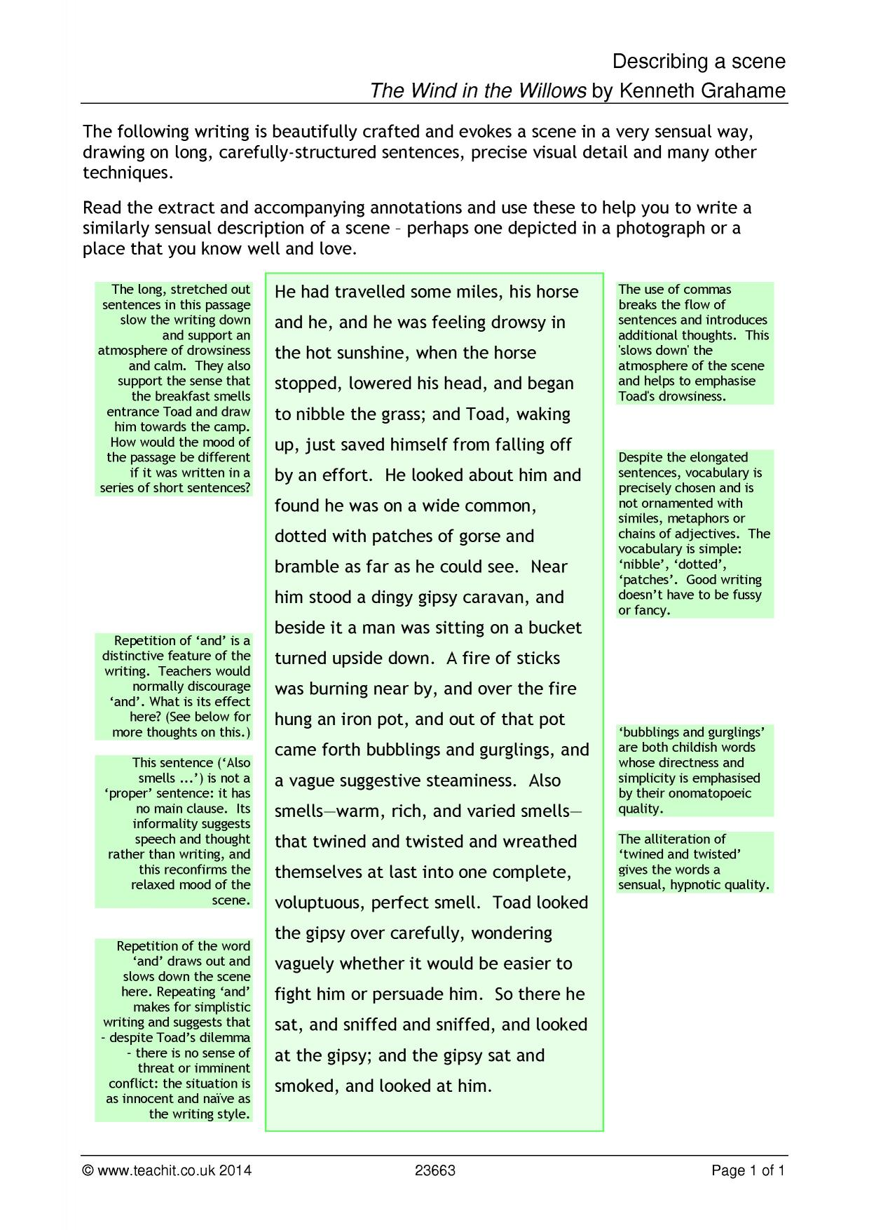 descriptive writing gcse examples Writing to describe - example the following descriptive writing takes the form of a story this kind of descriptive writing is suitable for coursework.