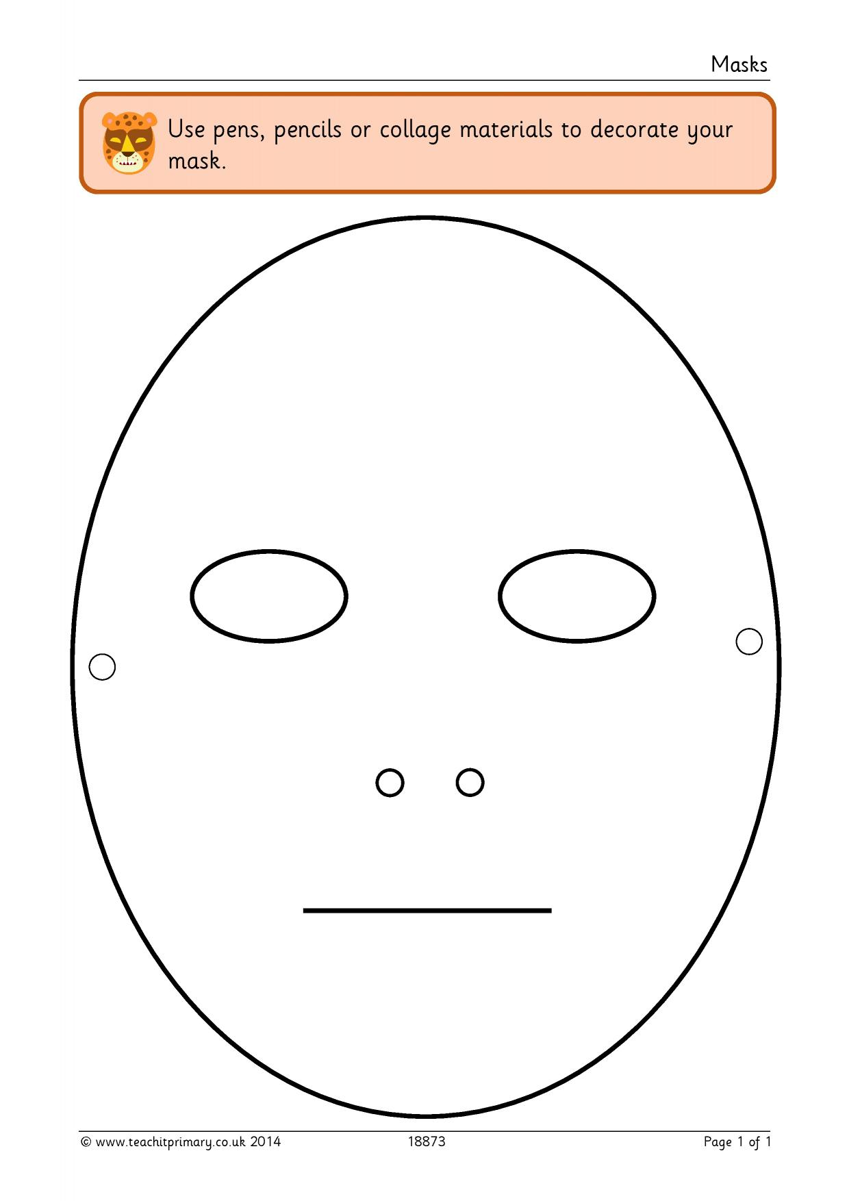 Mask template - Drama and role play - Templates - Home page