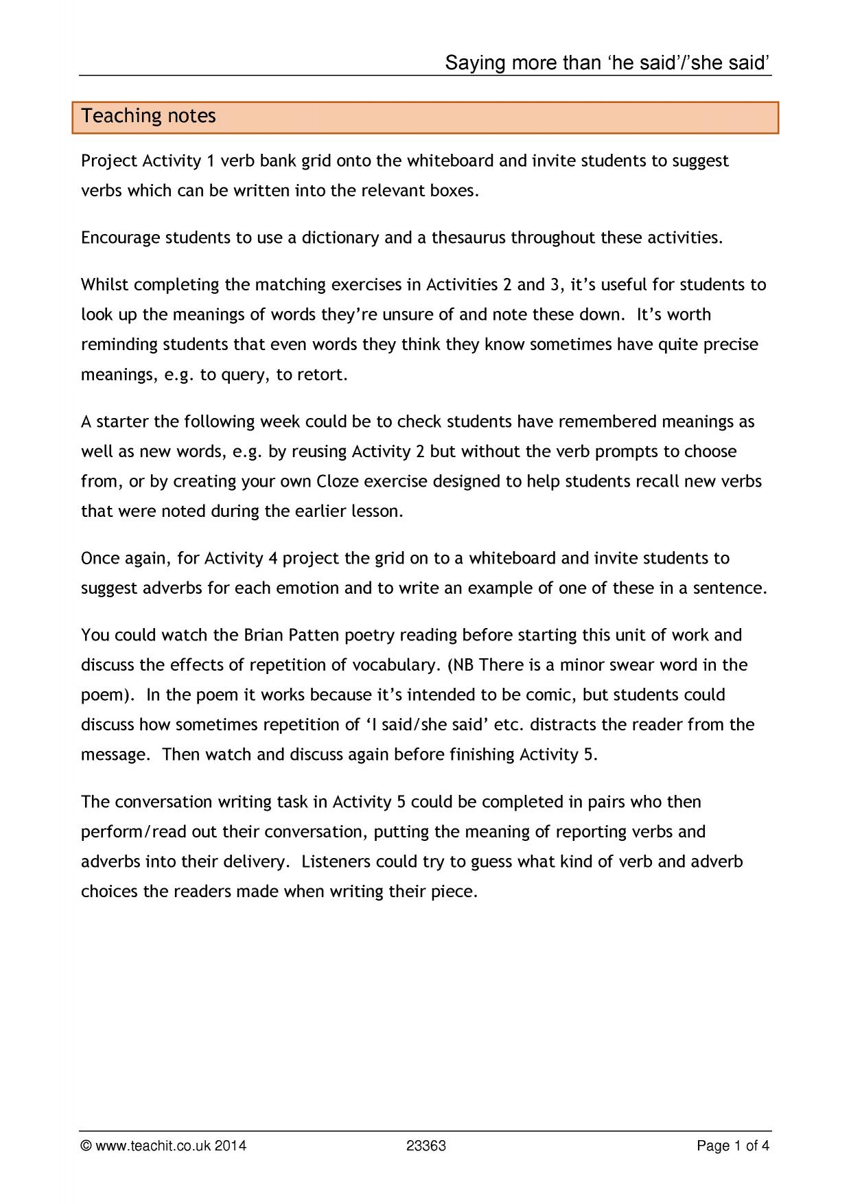 Creative writing resources ks4