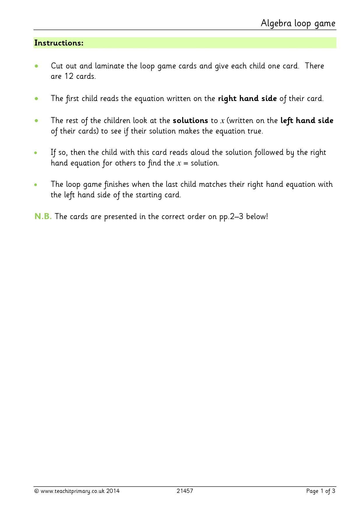 algebra loop game algebra teaching pack algebra ks2 home page. Black Bedroom Furniture Sets. Home Design Ideas