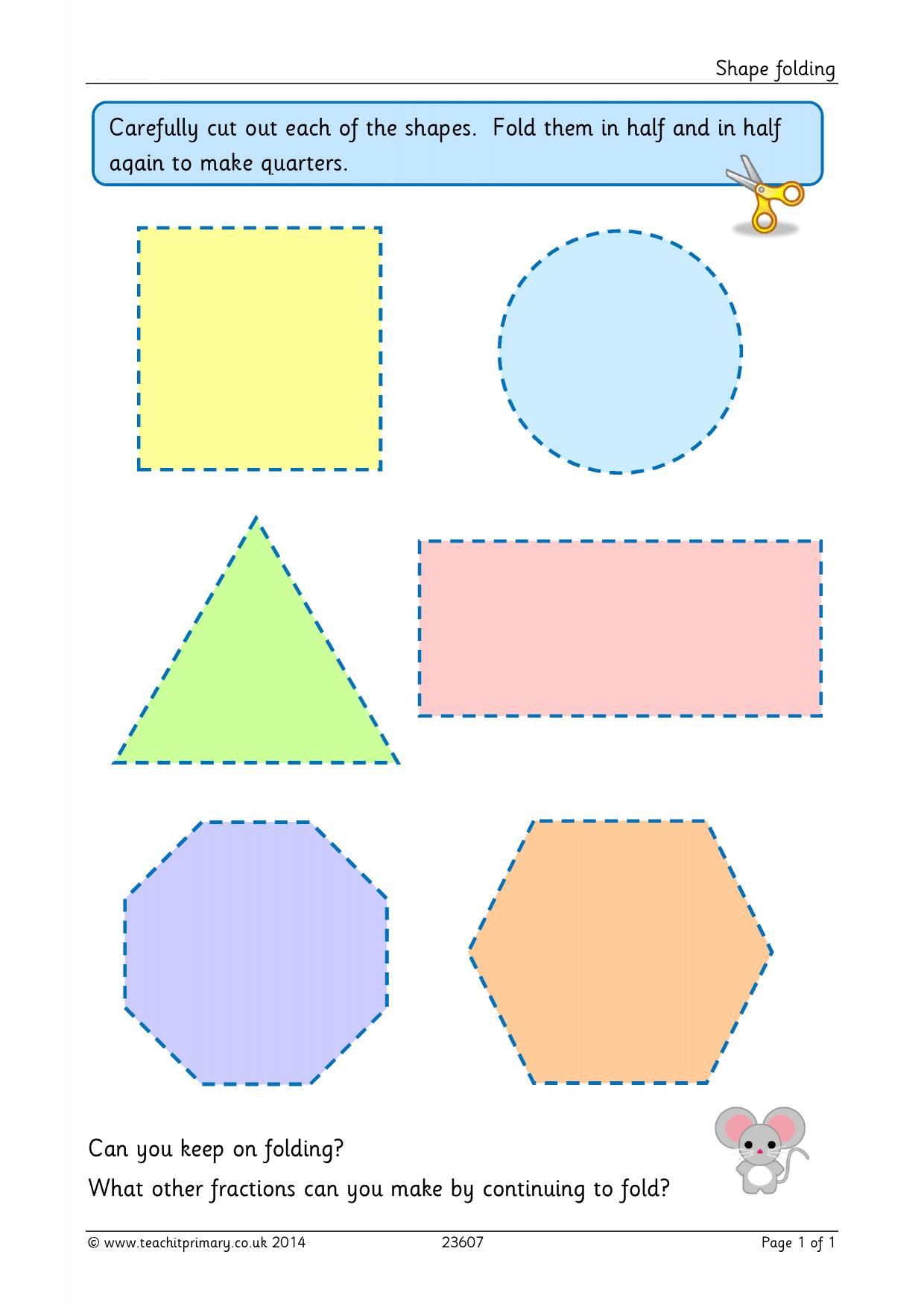 worksheet Fractions Of Shapes shape folding basic fractions home page resource thumbnail