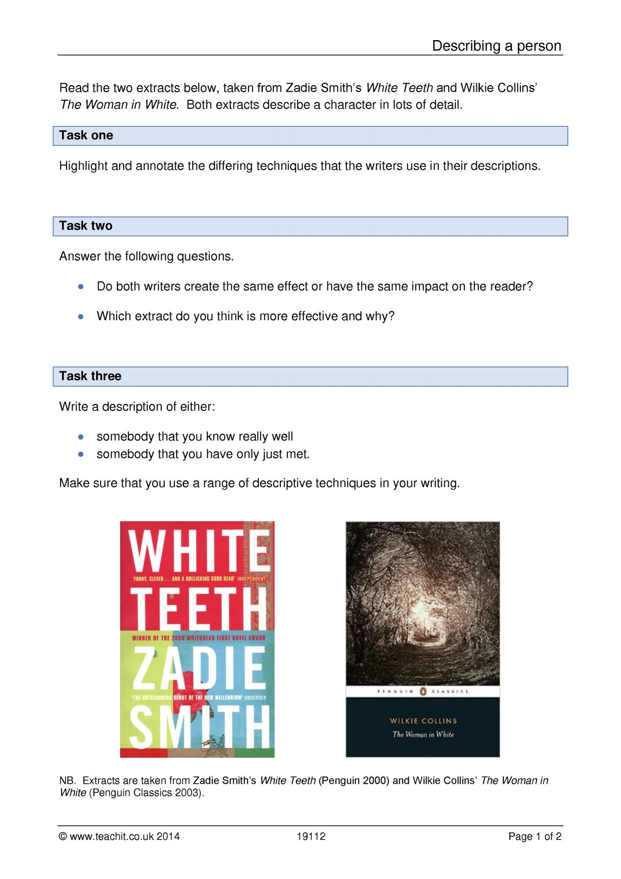 descriptive writing gcse descriptive writing ks writing key stage resources teachit