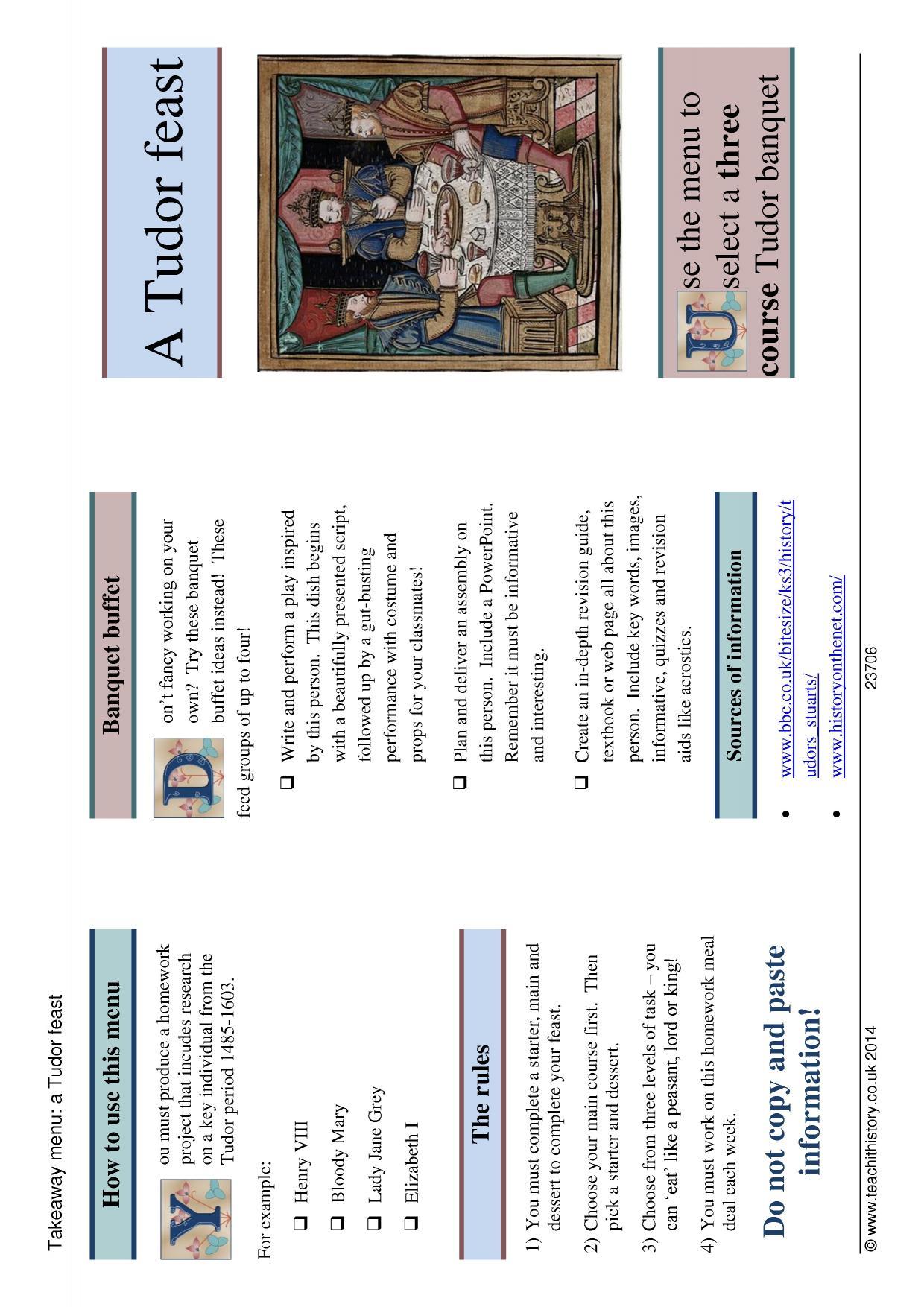 tudor menu template - takeaway menu tudor feast
