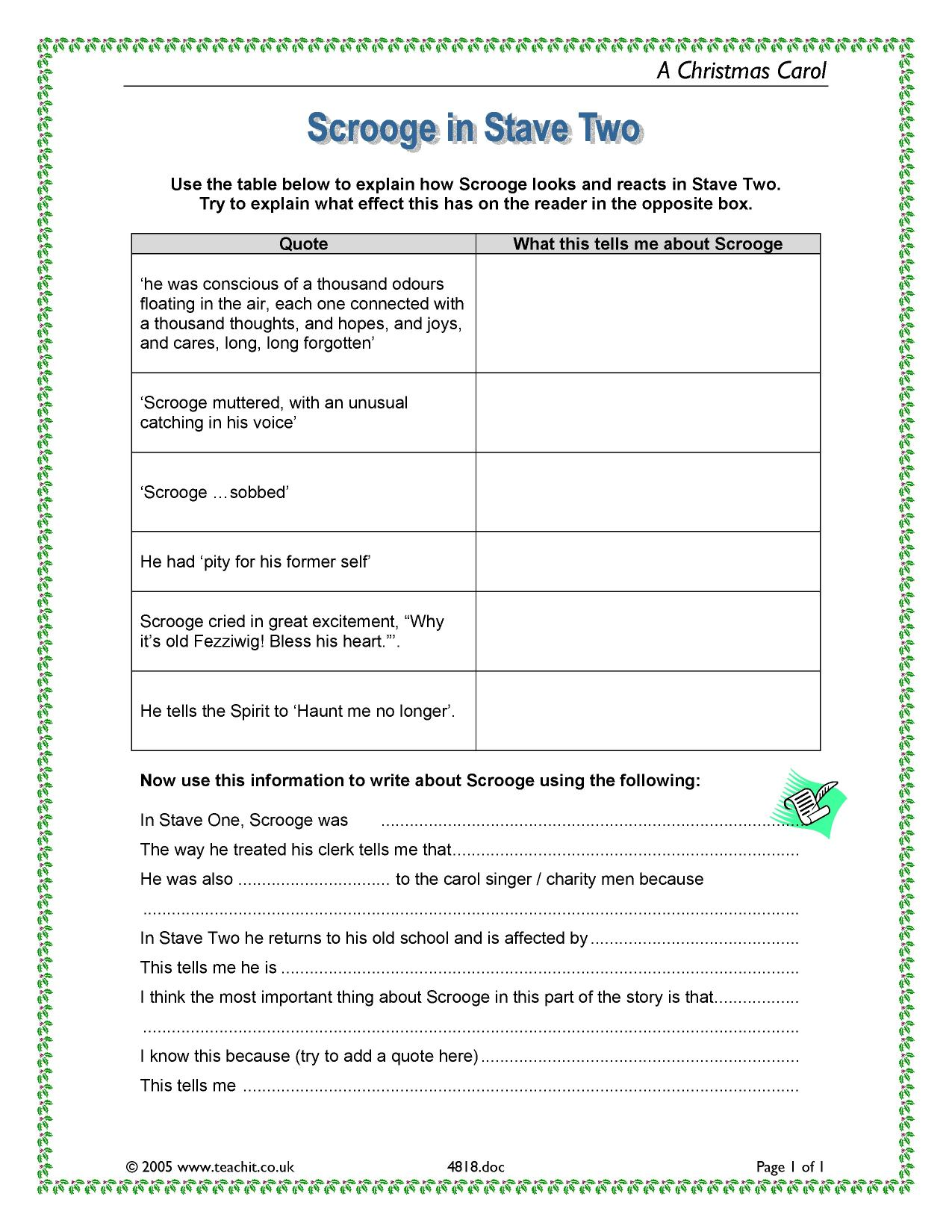 KS4 A Christmas Carol by Charles Dickens – A Christmas Carol Worksheets
