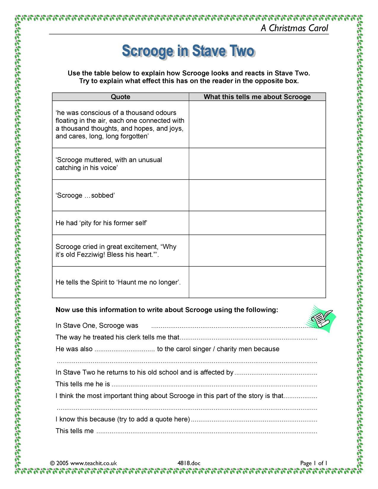 A Christmas Carol Stave 1 Summary.Ks3 Prose A Christmas Carol By Charles Dickens Teachit