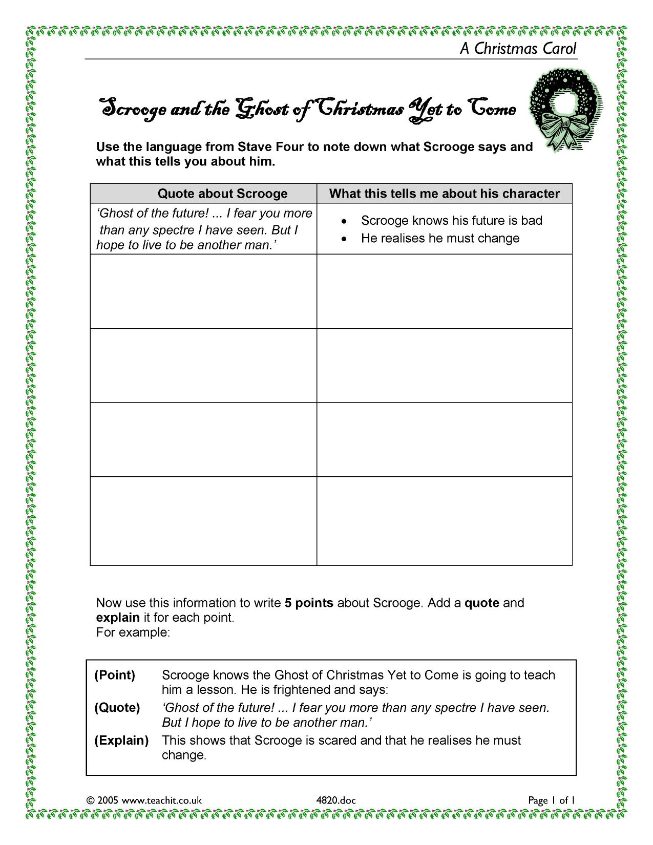 KS3 A Christmas Carol by Charles Dickens – A Christmas Carol Worksheets