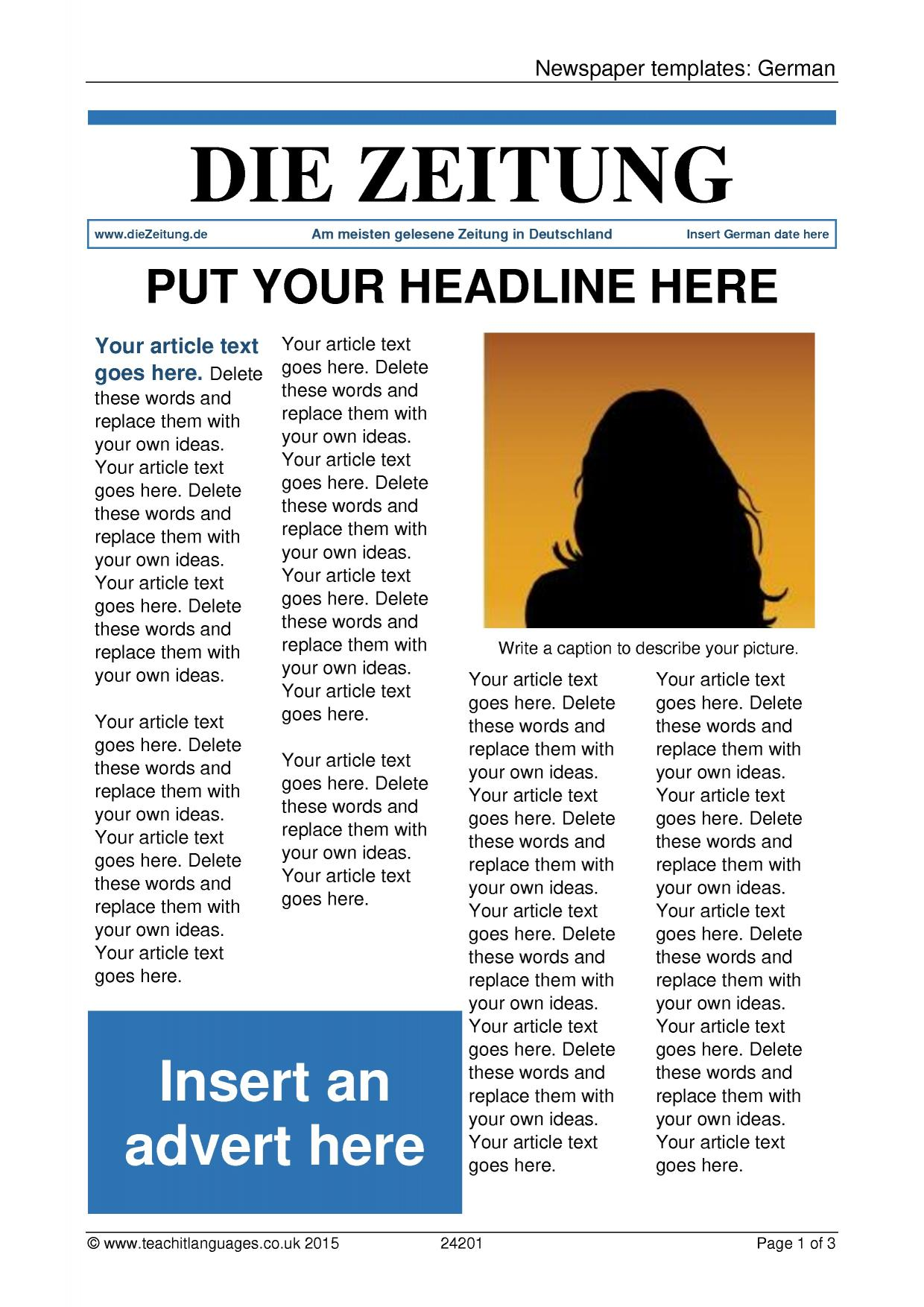 Newspaper Templates German