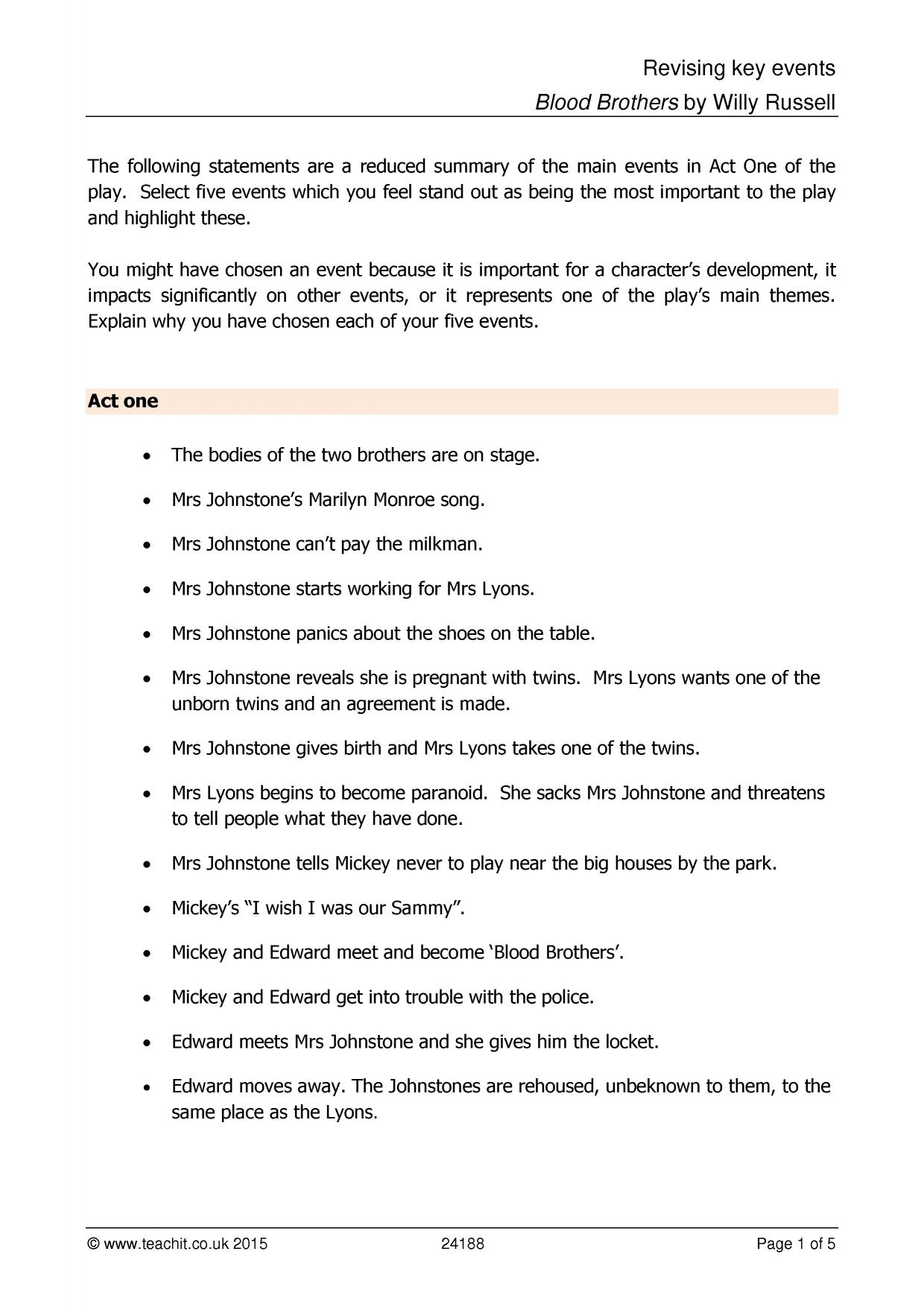 blood brother essay questions Grade 9-1 gcse english text guide - blood brothers this amazing text guide contains everything you need to write top-grade essays about willy russell's blood.