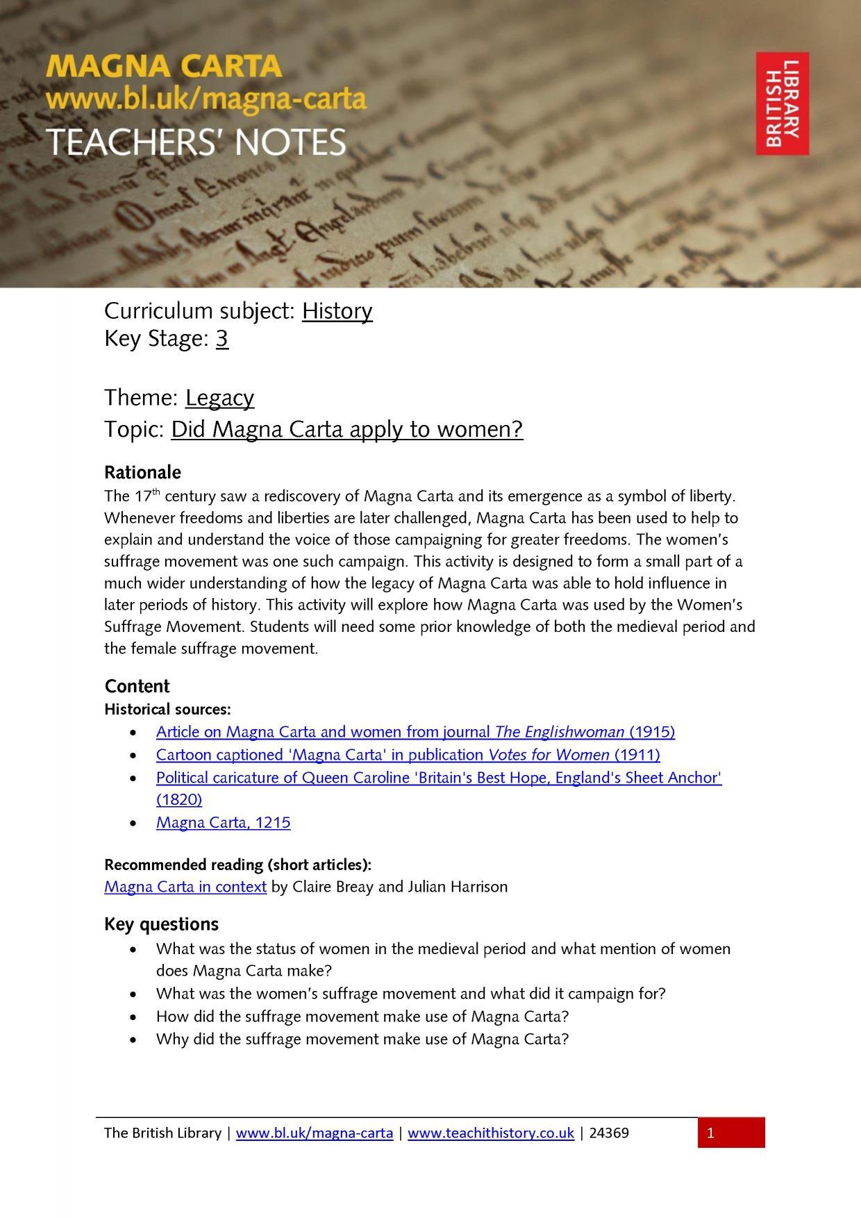 worksheet Magna Carta Worksheet teachit history ks3 teaching resources made by teachers 0 preview