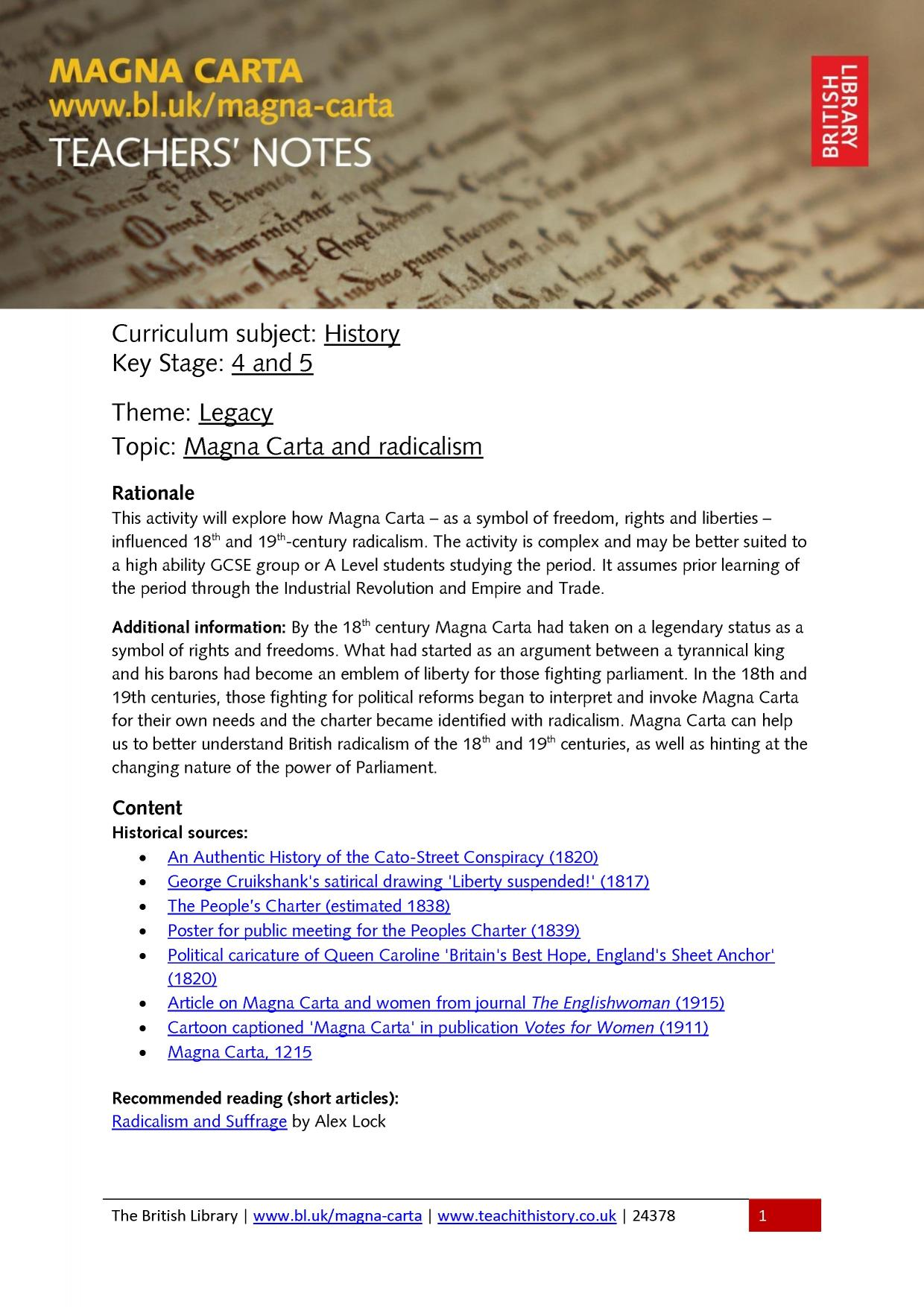 magna carta causes and contents Through careful examination of an image of a 1775 massachusetts thirty-shilling note from the smithsonian's national museum of american history collections, students will discover the reason paul revere featured the magna carta (1215) on the currency he designed, and the symbolic importance the.