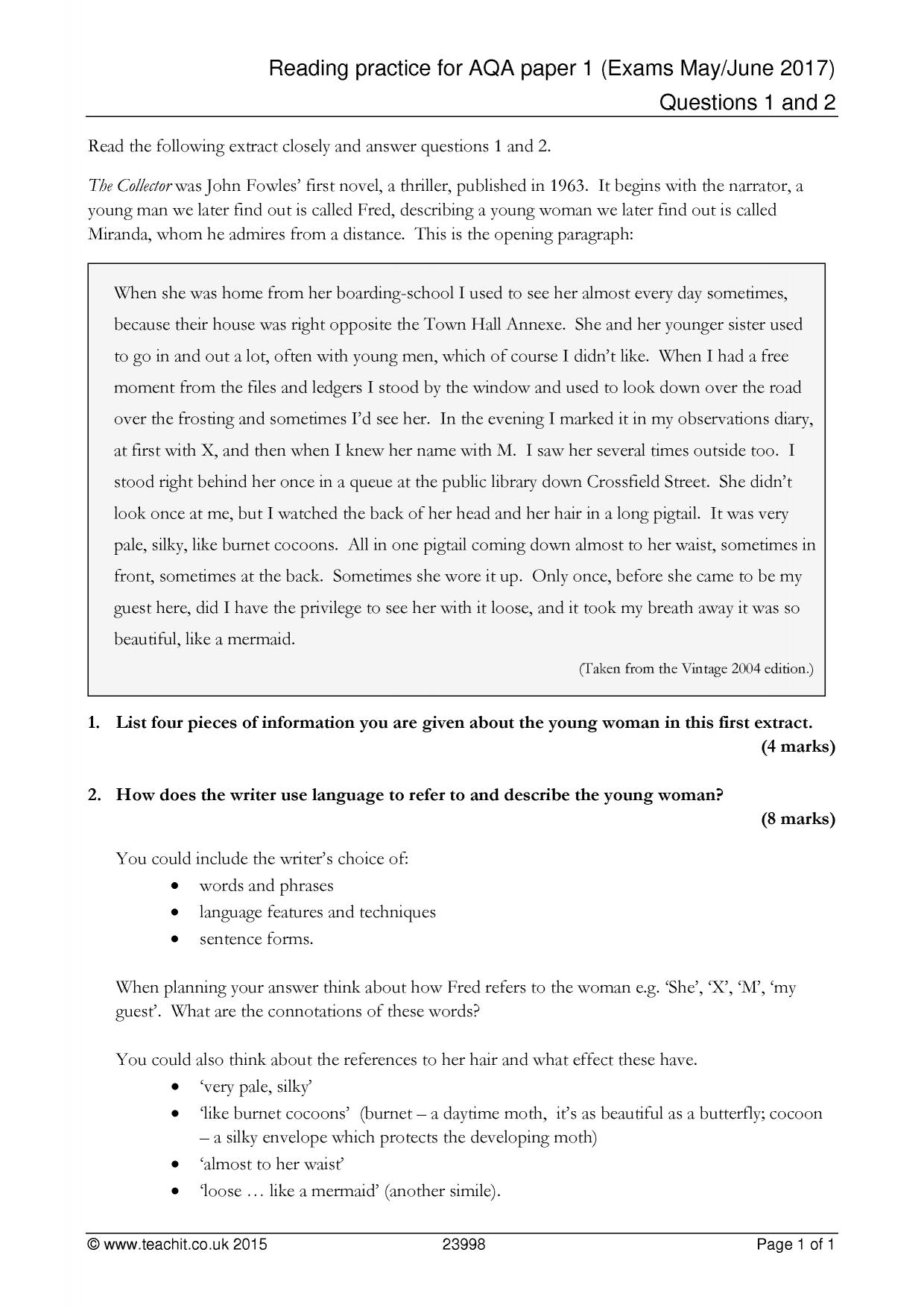 reading practice for aqa paper exams questions  resource thumbnail