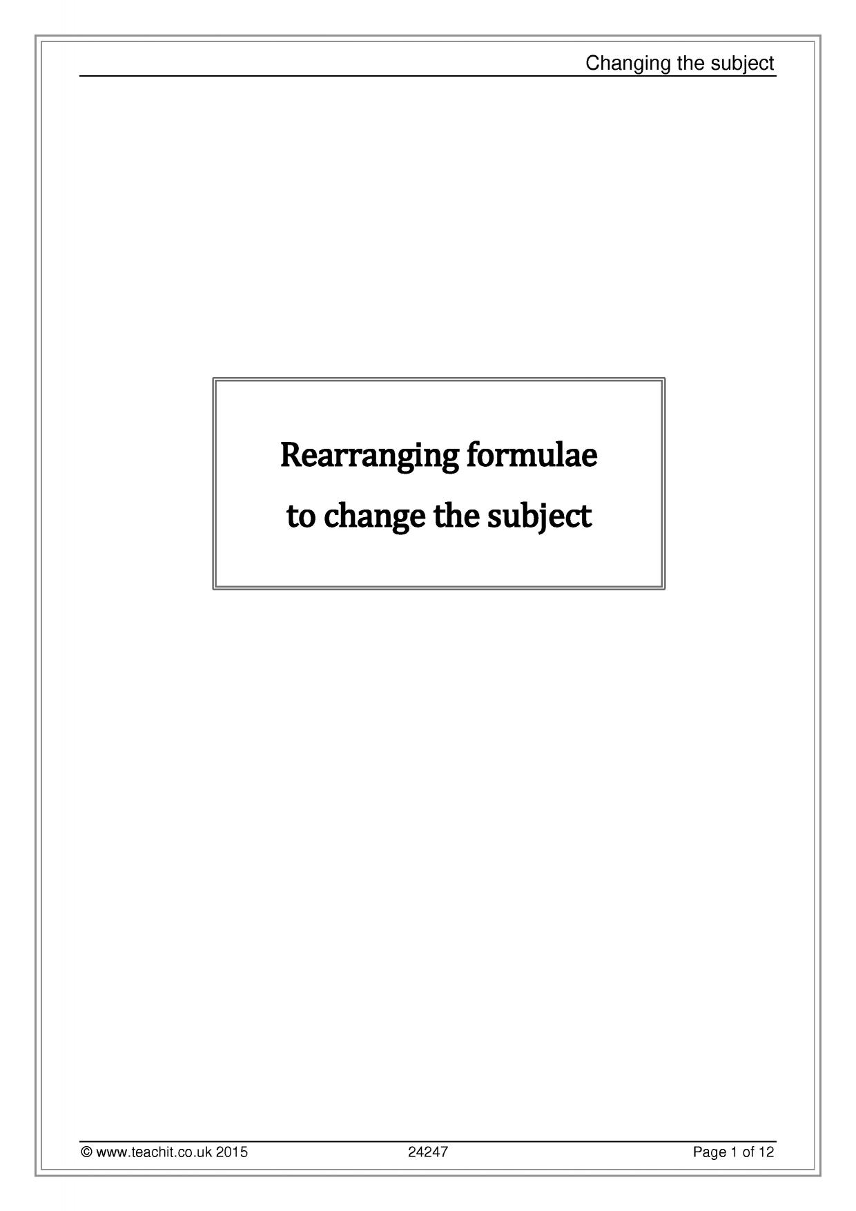 worksheet Changing Subject Of Formula Worksheet formulae and substitution teachit maths 0 preview