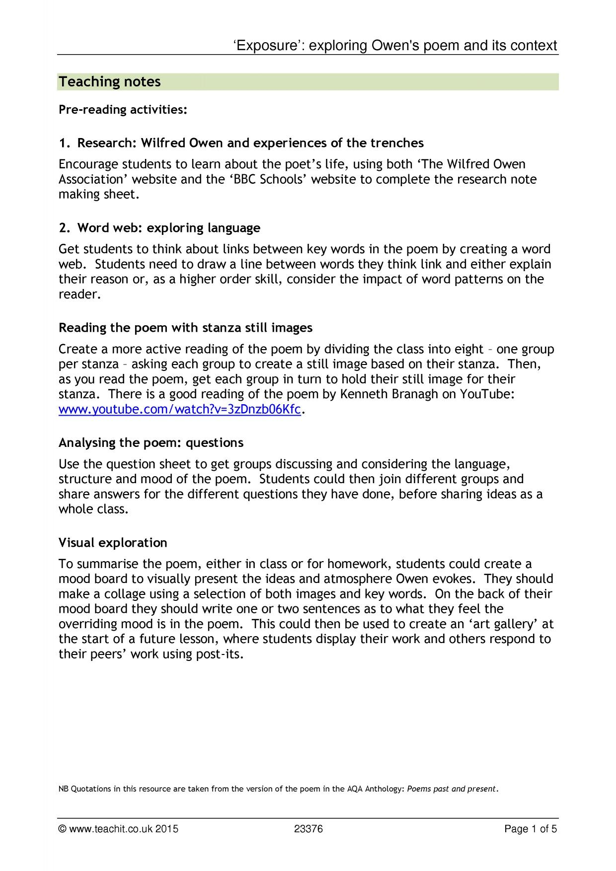 owen wilfred ks3 resources all 4 preview