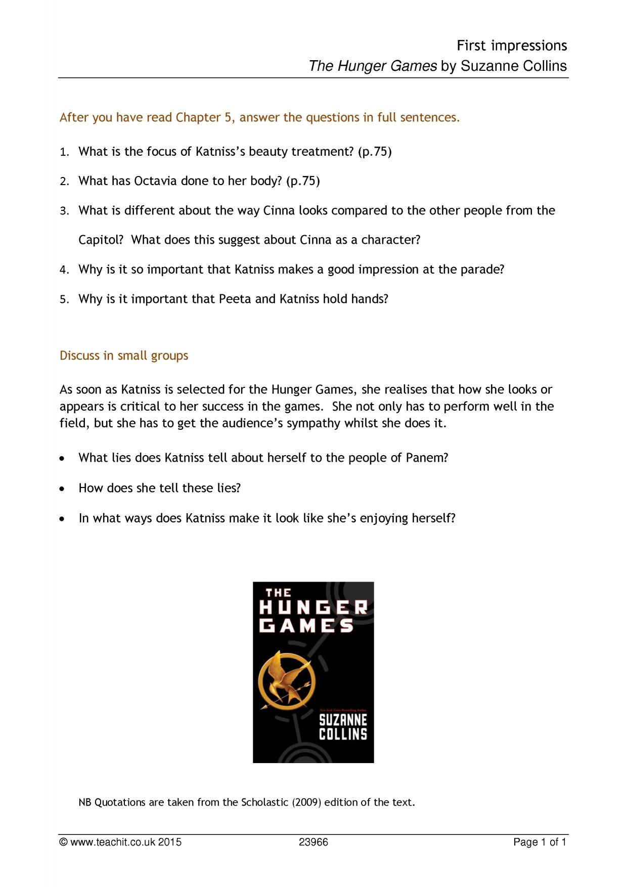5 paragraph essay on the hunger games Free essay: the hunger games novel written by suzanne collins reflects  significant issues in the reality world nowadays which relate to the humanity, the.