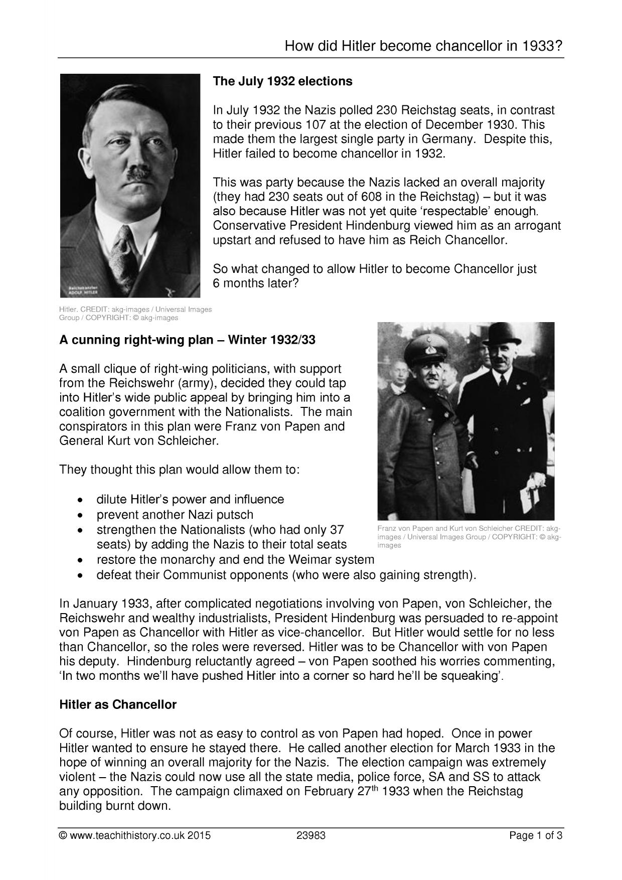 adolf hitler the chancellor of germany essay Adolf hitler appointed chancellor  on the day of his appointment as german chancellor, adolf hitler greets a crowd of enthusiastic germans from a  germany .