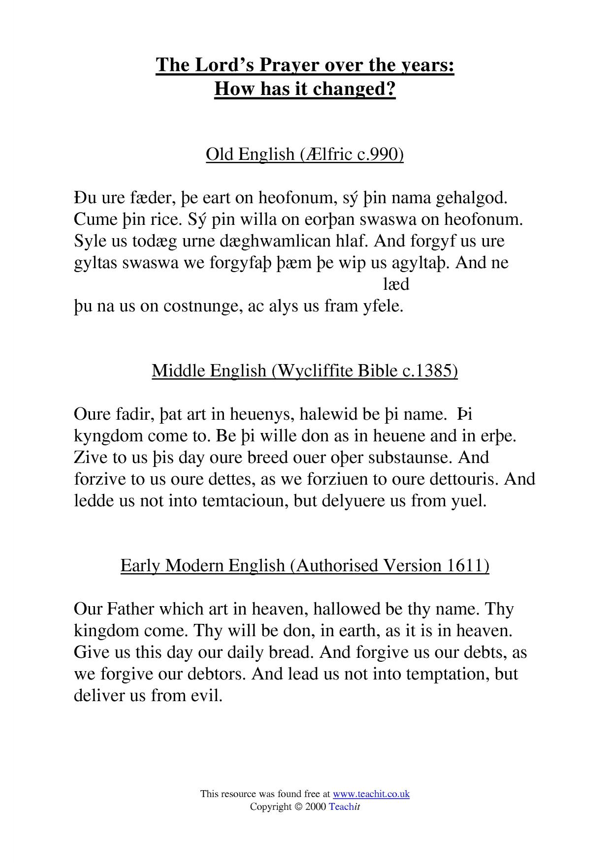 the lord u0027s prayer language change over time home page