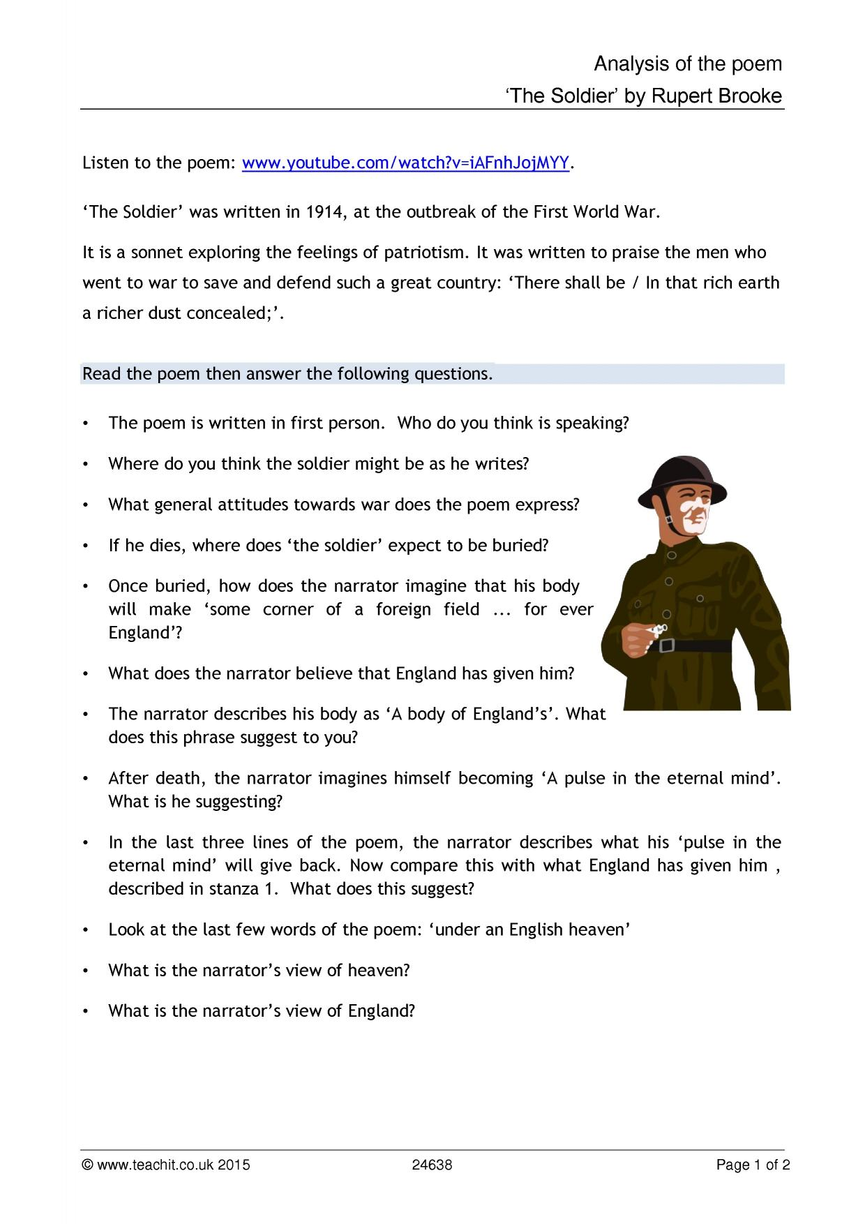 an analysis of the poem the soldier by rupert brooke Background rupert brooke wrote the soldier in 1914 it forms part of a series of poems, all written by brooke the poems were written as war sonnets at the onset of world war i.