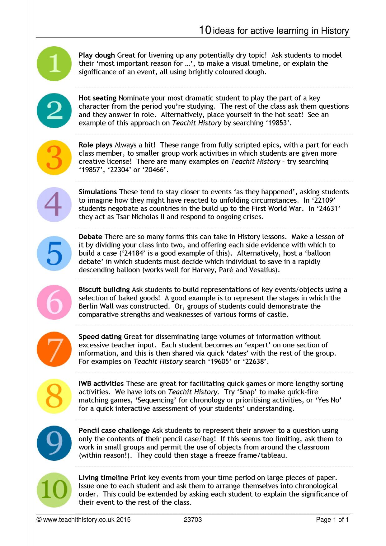 10 ideas for active learning in History - Teaching templates and tools