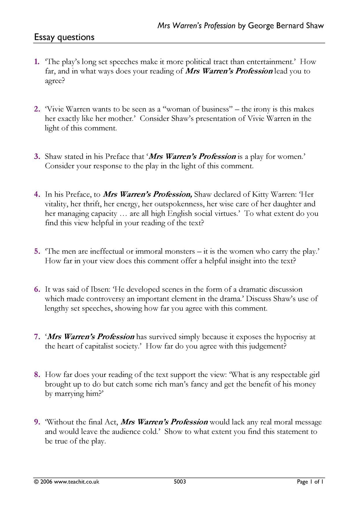 a study of mrs warrens profession essay Mrs warren's profession april 19, 2011 with mrs warren a rough diamond with a devoted if aging male entourage essay culture - feature culture.