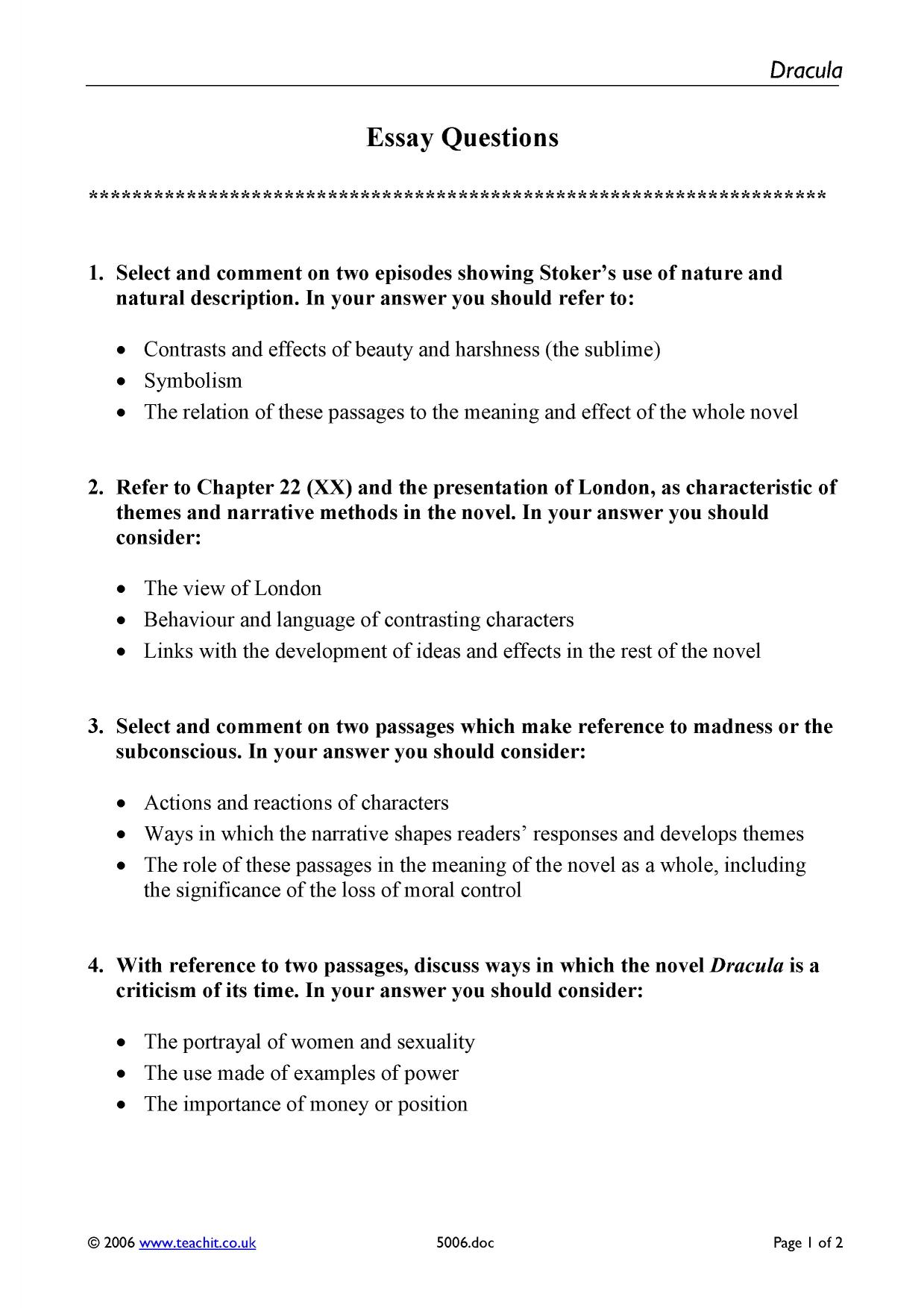 Persuasive Essay Topics For High School  After High School Essay also Thesis Statement For Analytical Essay A List Of Possible Essay Questions Thesis For Compare Contrast Essay