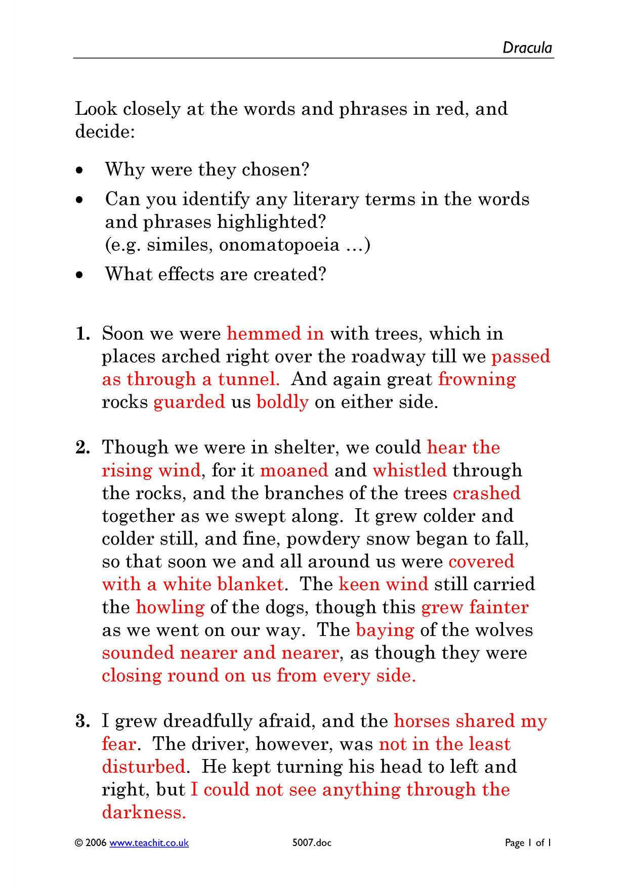 dracula by bram stoker ks4 prose key stage 4 resources 2 preview